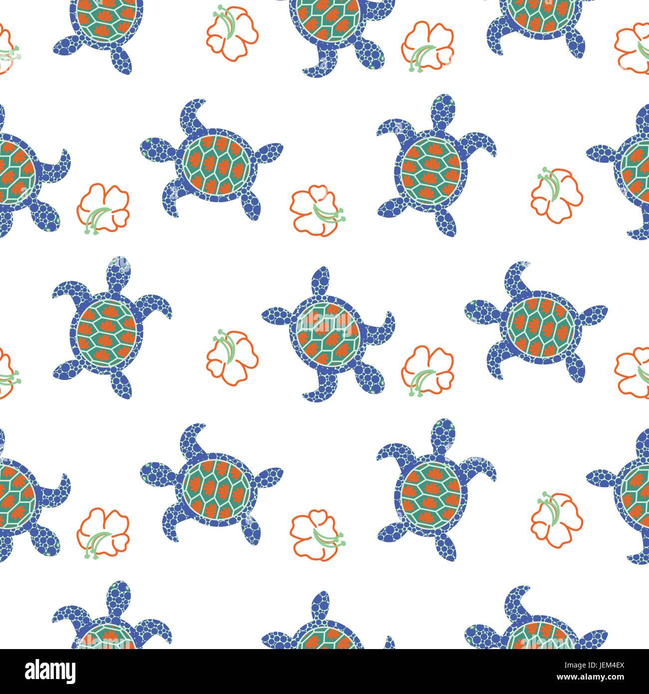 Tortuga sin costuras decorativas de patrón de vectores. El azul y el ...