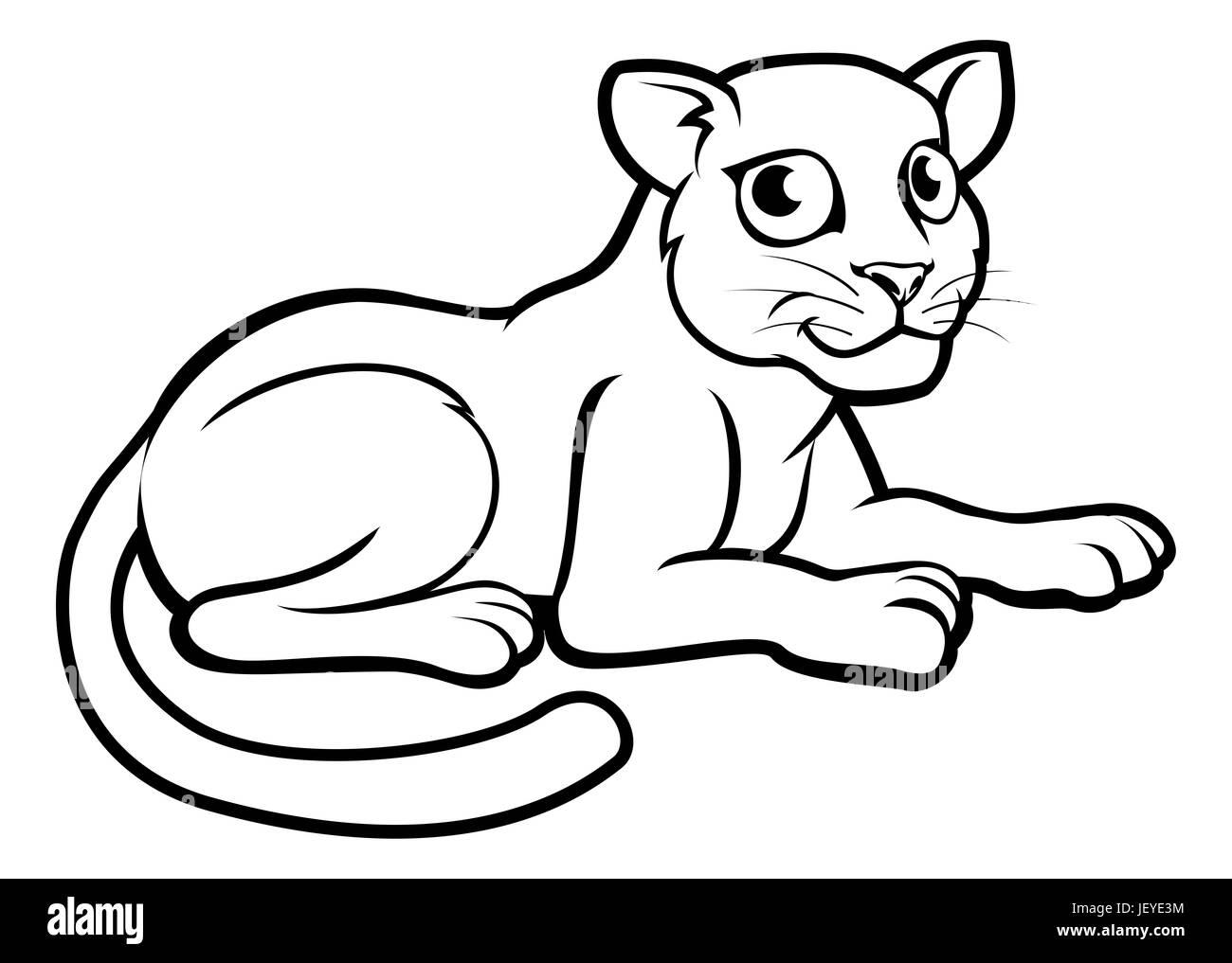 Un leopardo, el jaguar o pantera esbozo de personaje de dibujos ...