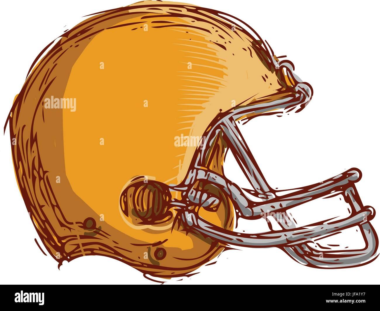 Dibujo de cascos de fútbol americano Ilustración del Vector, Imagen ...
