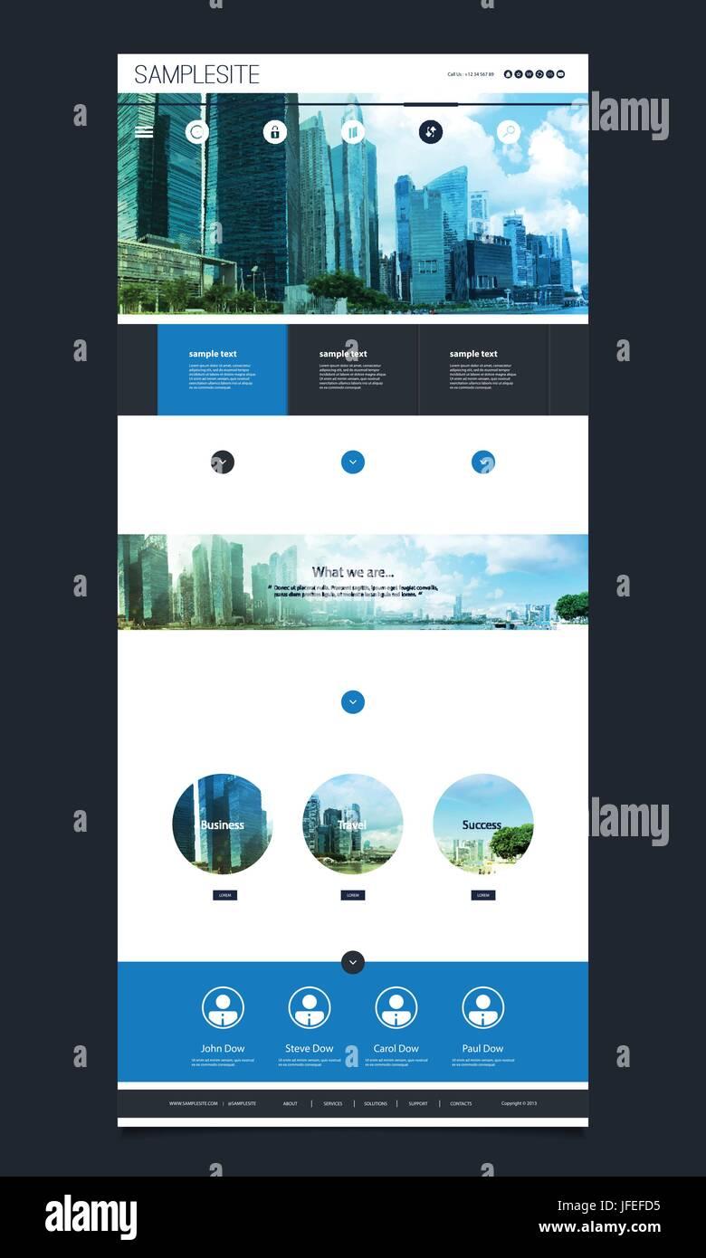 Sitio Web de una página brillante azul Plantilla con paisaje Skyline ...