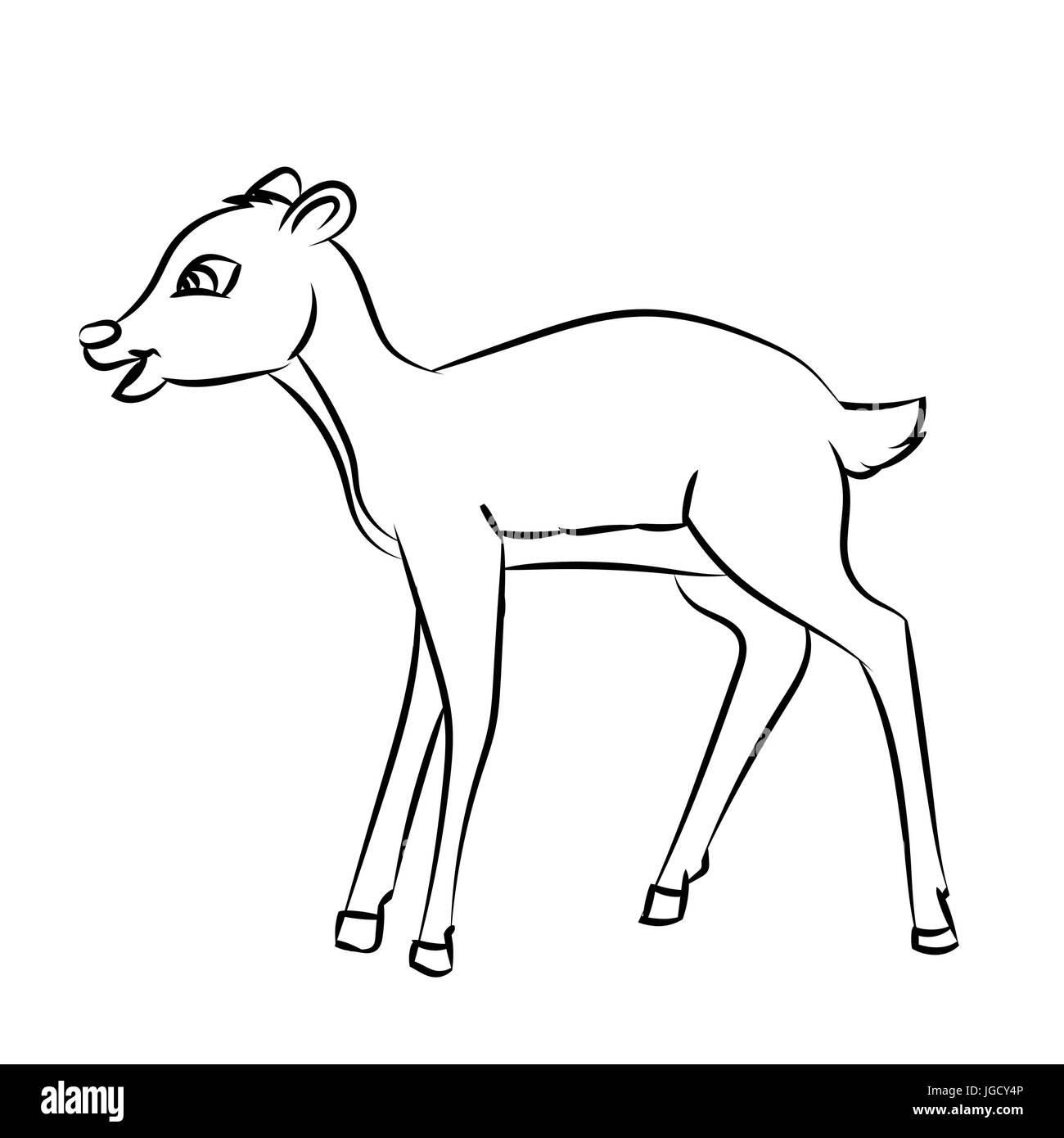 Croquis dibujados a mano de Ciervos aislados de rata, en blanco y ...