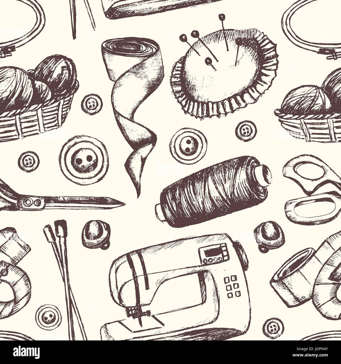 Accesorios de costura - en blanco y negro dibujado a mano vector ...