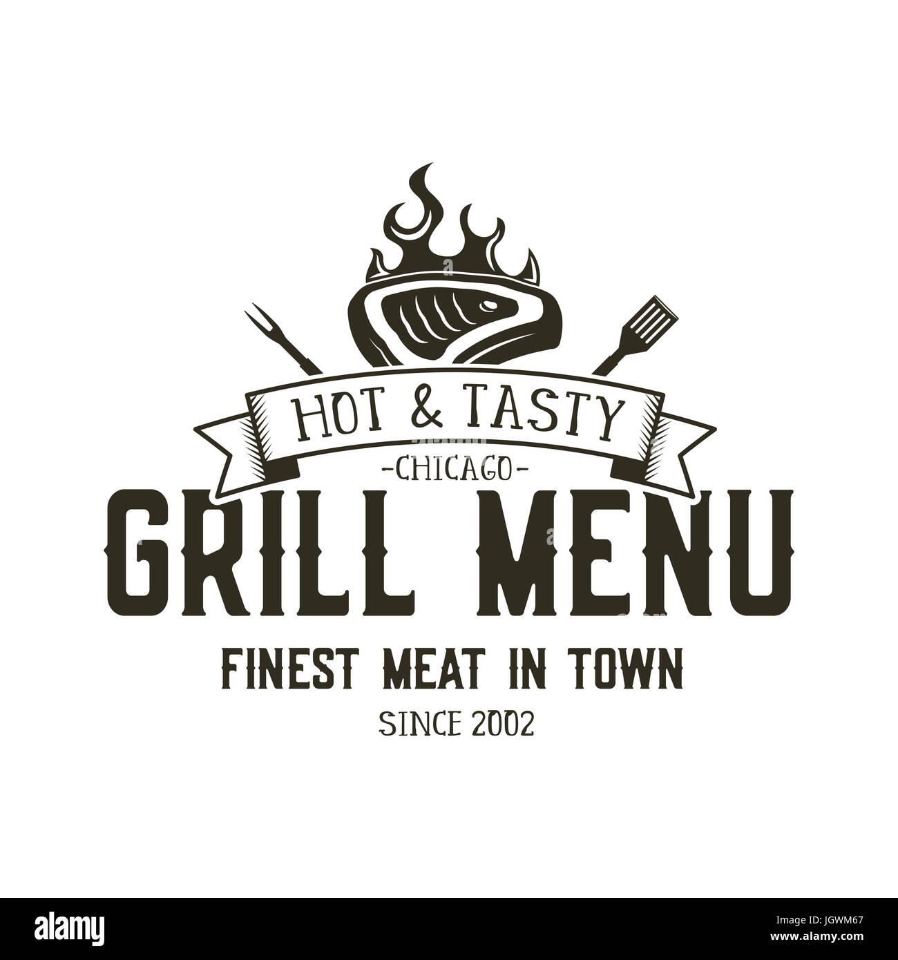 Emblema Grill menú Plantilla. Steak house restaurante diseño de ...