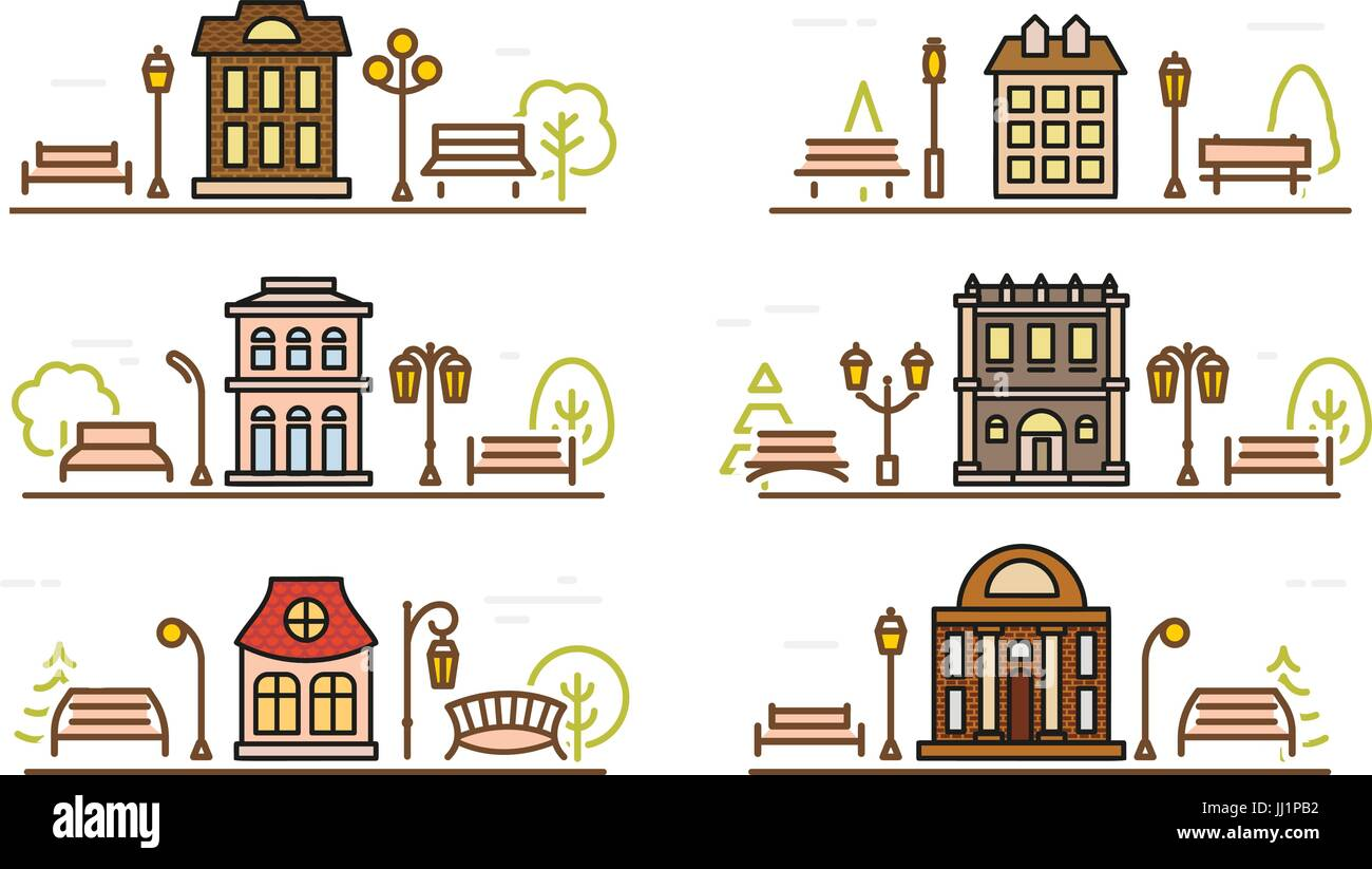 Fachada colorear dibujos animados y parques adyacentes. Esquema ...