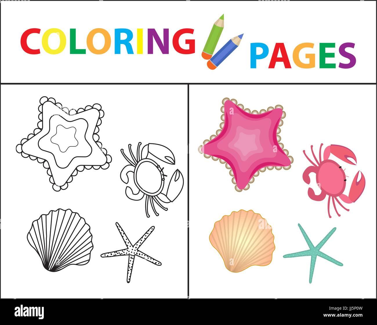 Coloring Book página. Conjunto, estrella de mar, concha, cangrejo ...
