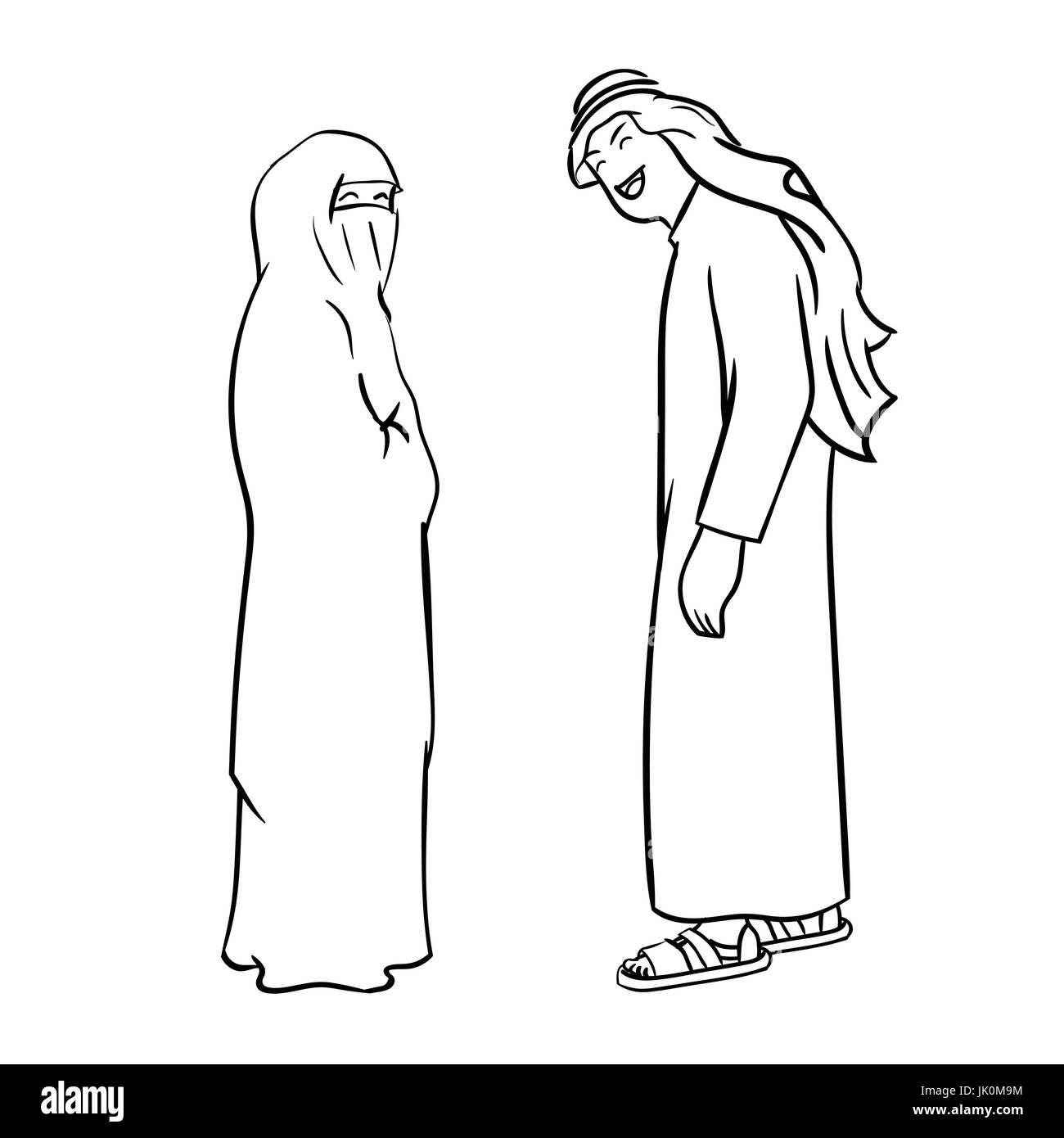 Croquis dibujados a mano de la pareja árabe Cartoon aislados, en ...