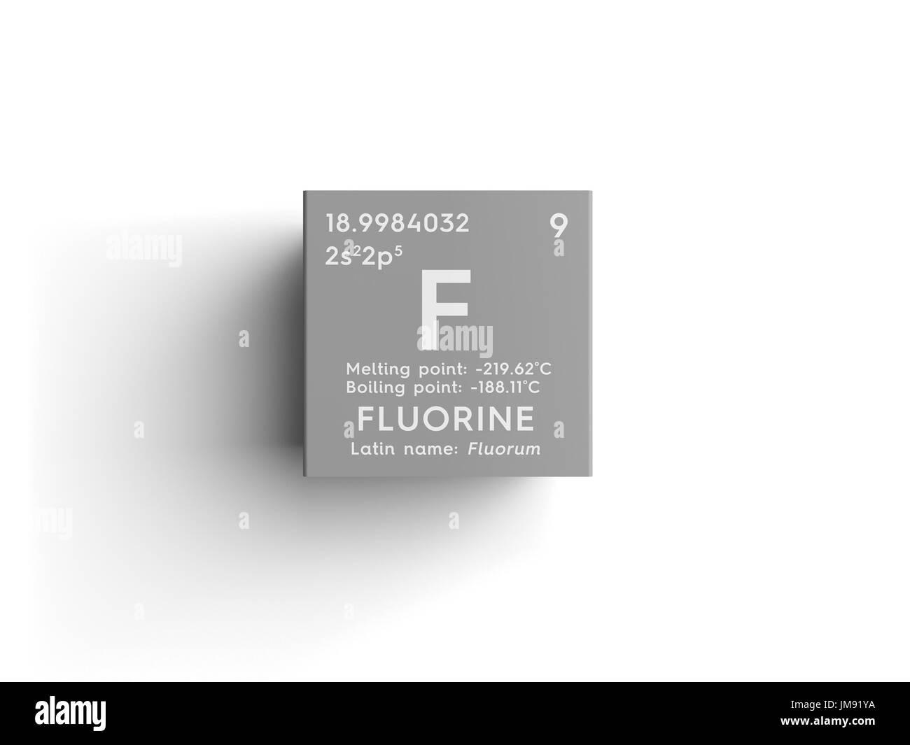 los halgenos elemento qumico de la tabla peridica de mendeleyev flor en square cube concepto creativo - Tabla Periodica Halogenos