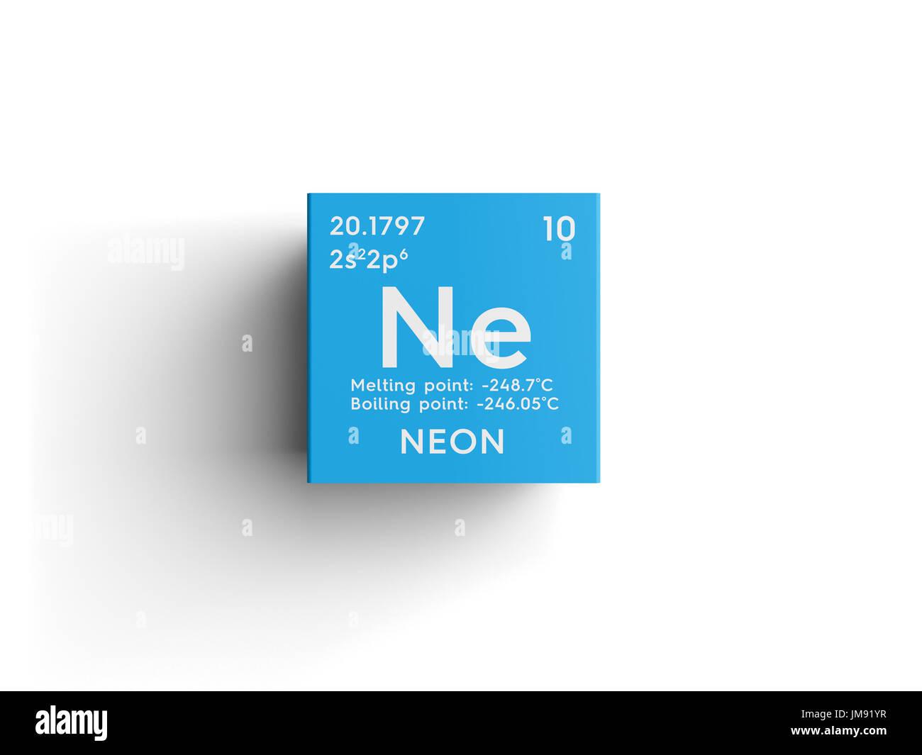 Luces de nen los gases nobles elemento qumico de la tabla los gases nobles elemento qumico de la tabla peridica de mendeleyev en nen square cube concepto creativo urtaz Images