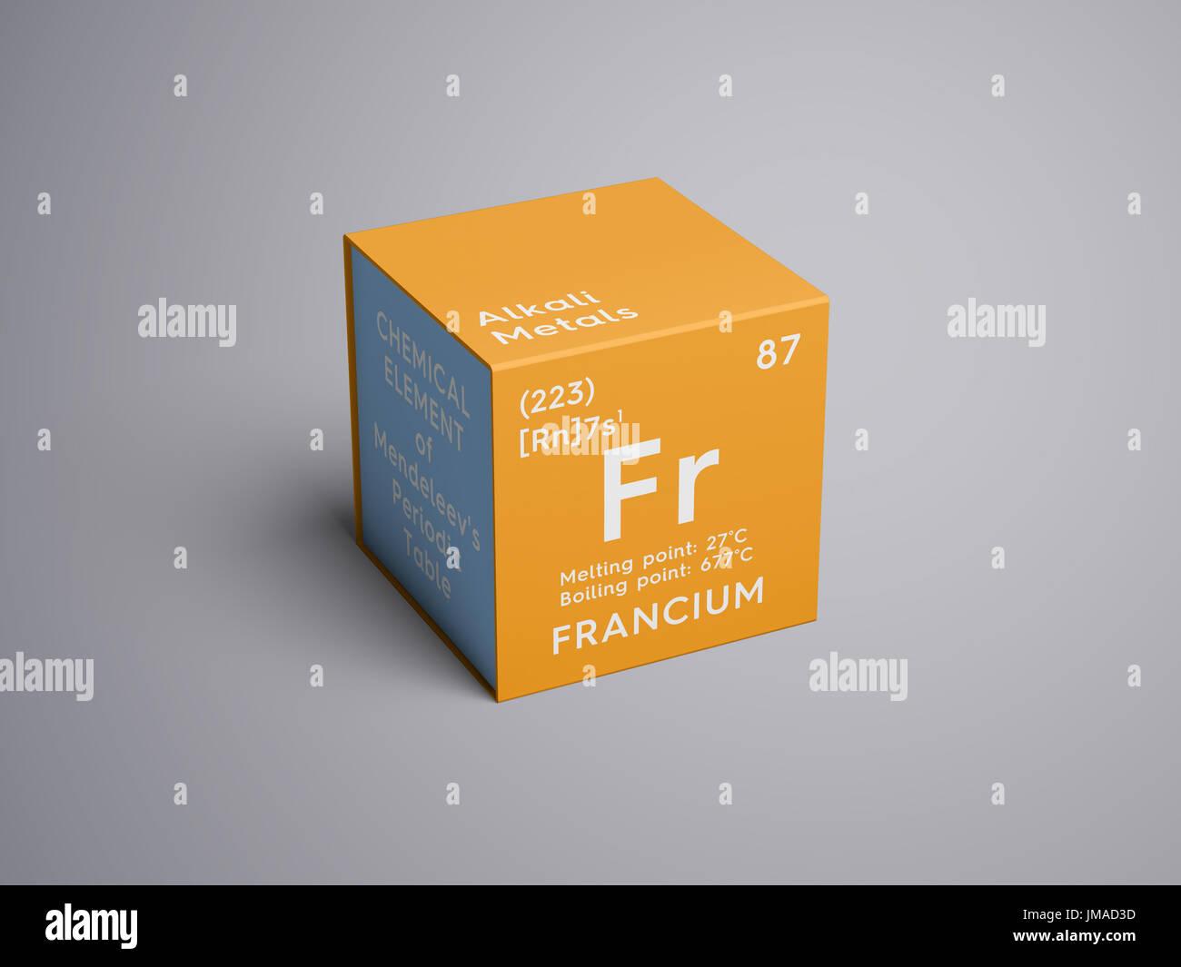 metales alcalinos elemento qumico de la tabla peridica de mendeleyev francio en square cube concepto creativo - Metales Alcalinos Tabla Periodica Definicion
