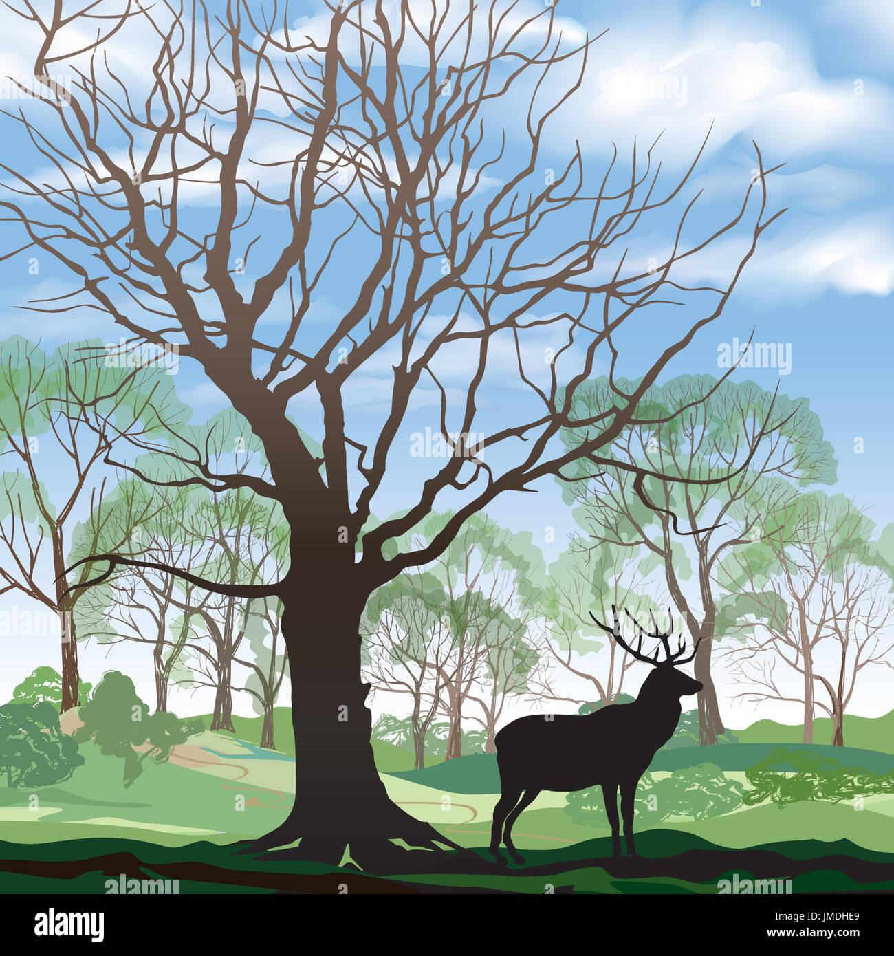 Paisaje primaveral con elk. Resumen ilustración vectorial de Spring ...