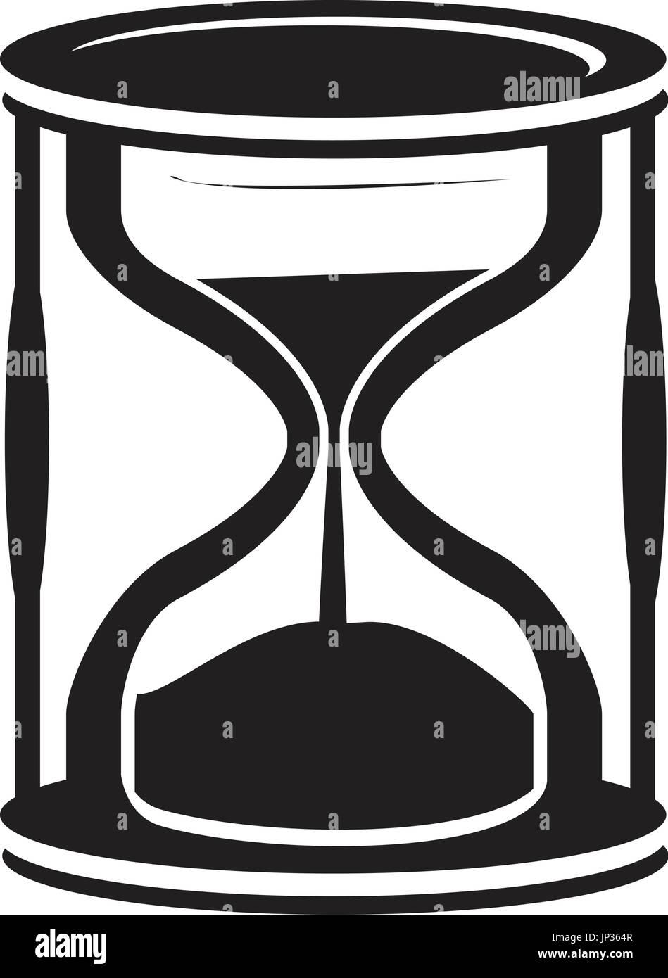 El Icono De Reloj De Arena Negro Aislado Sobre Fondo Blanco