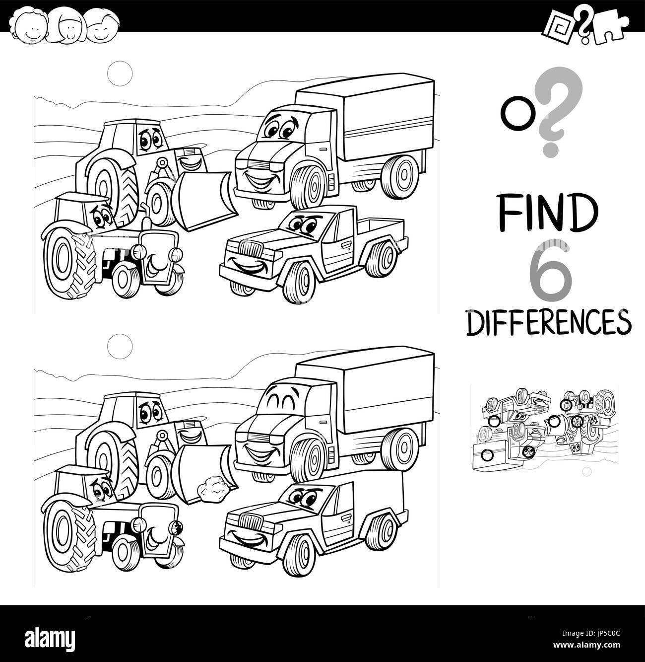 Ilustración caricatura en blanco y negro de Spot las diferencias ...
