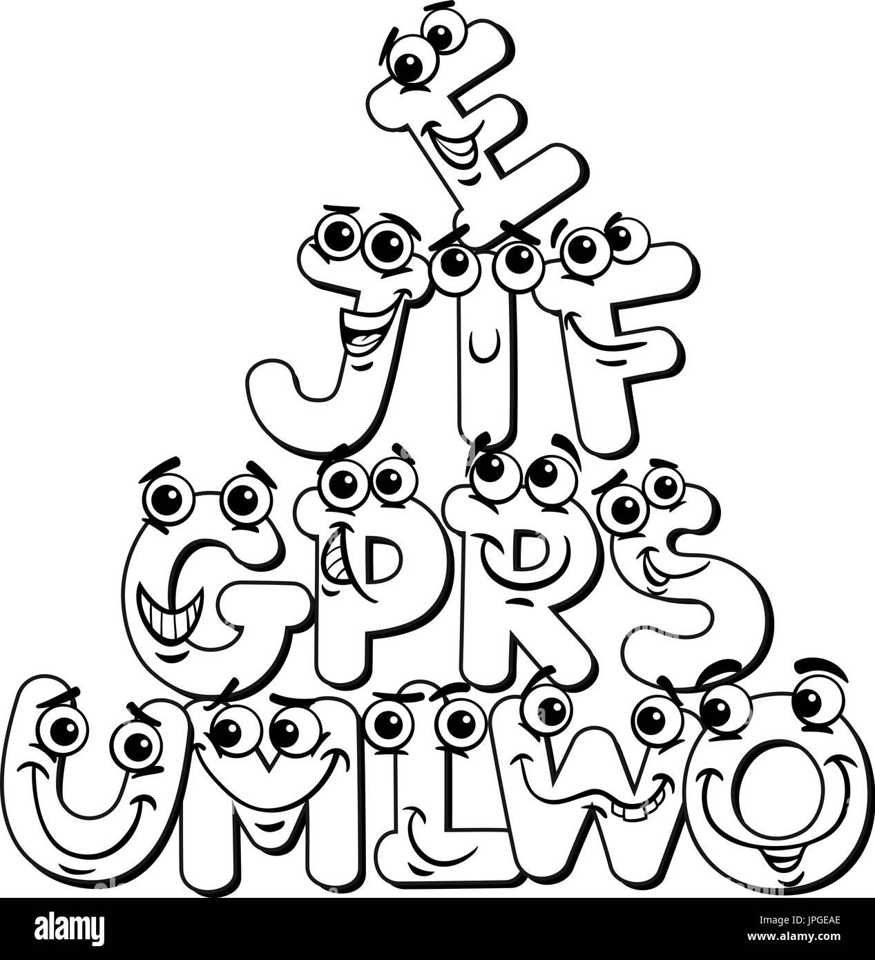 Ilustración caricatura en blanco y negro de divertidos personajes ...