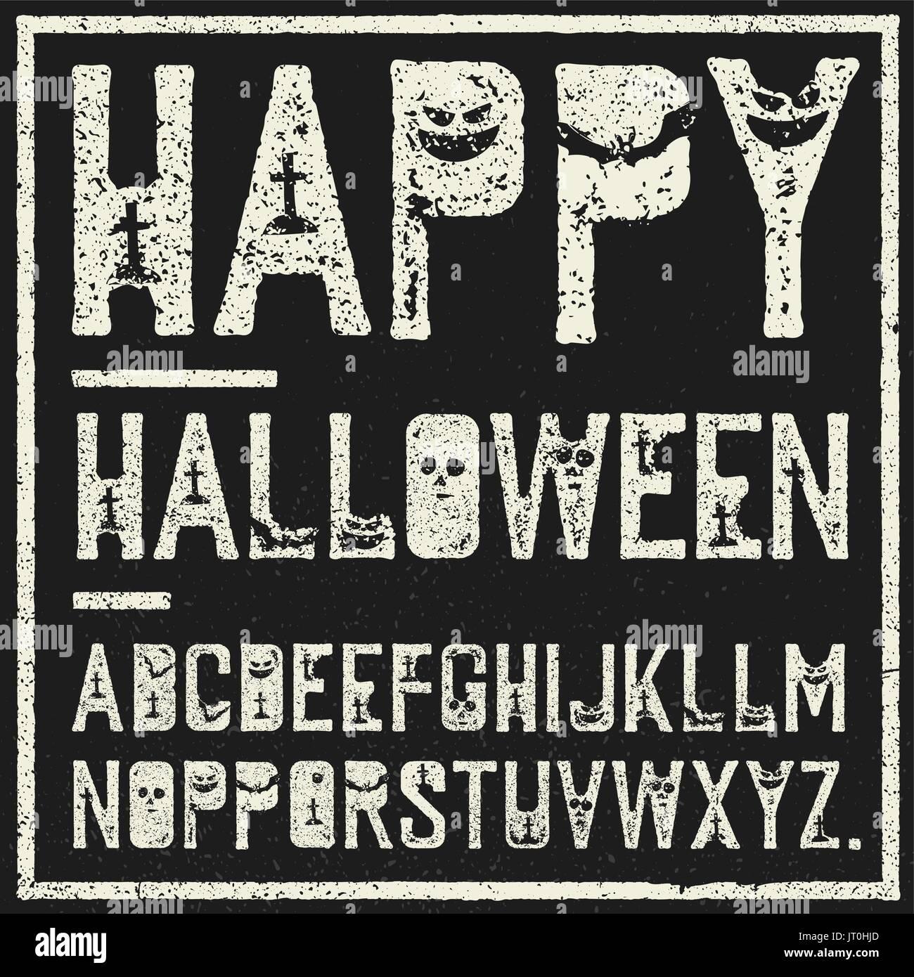 Feliz Halloween Alfabeto decorativo. Sello Grunge cartas con ...