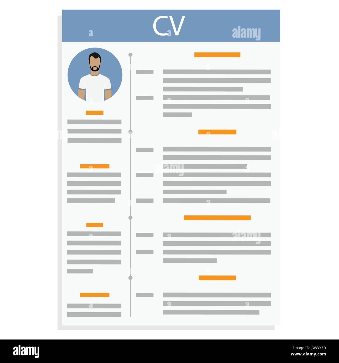 Ilustración vectorial CV o reanudar la plantilla de diseño con el ...
