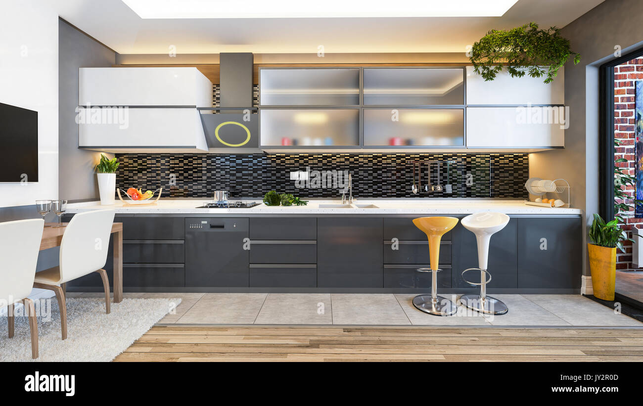 Diseño de cocinas de cerámica negra con fruta fresca y máquinas de ...