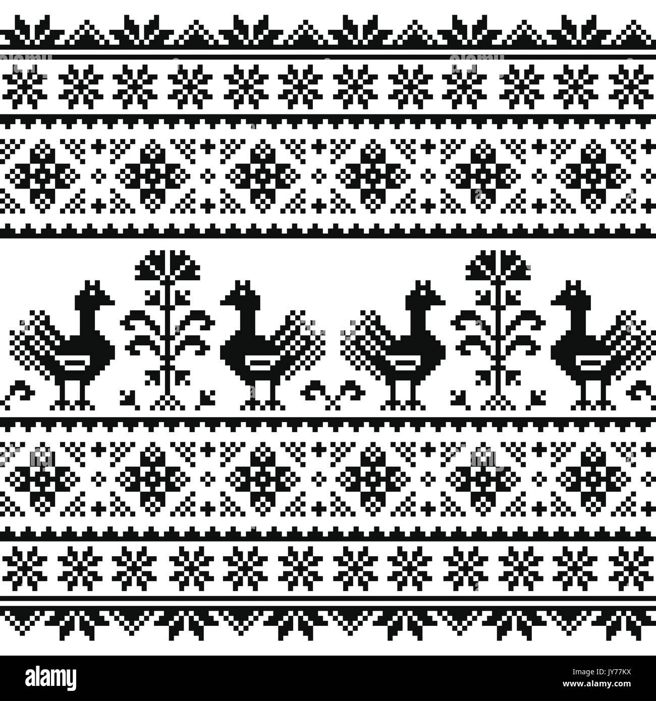 Ucraniano, Bielorruso o arte popular eslavo tejido bordado negro ...