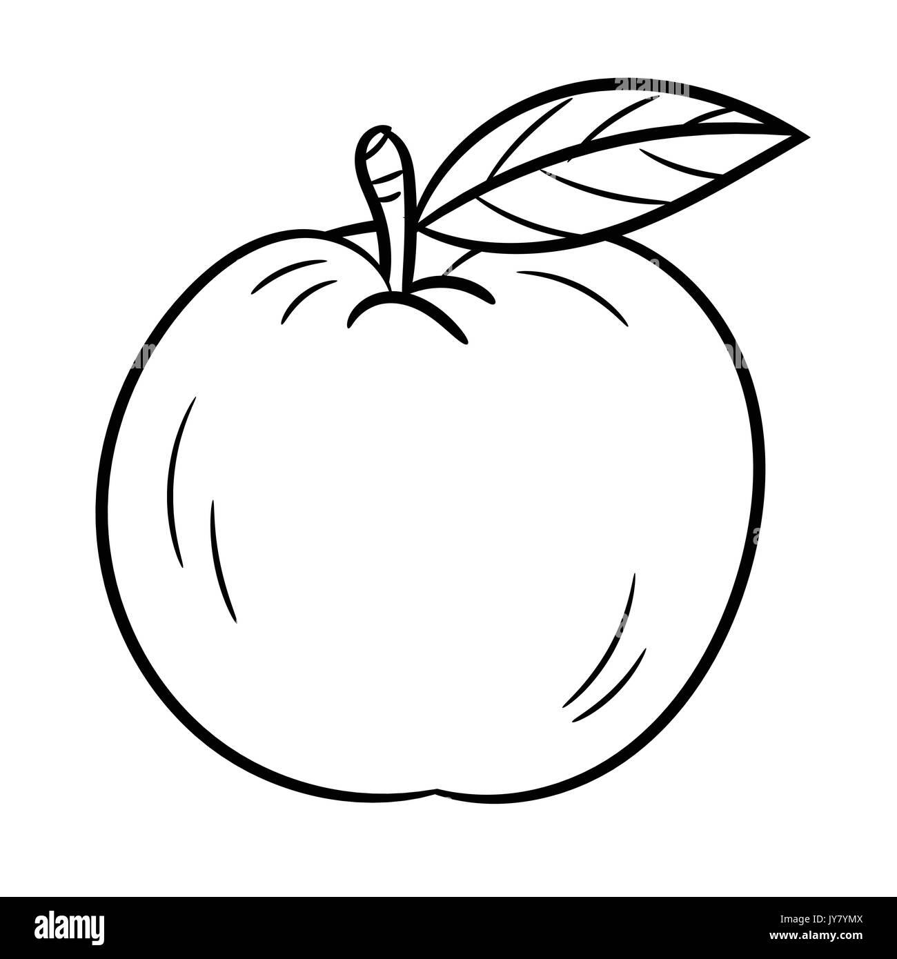 Croquis dibujados a mano de manzanas aisladas, caricatura en blanco ...