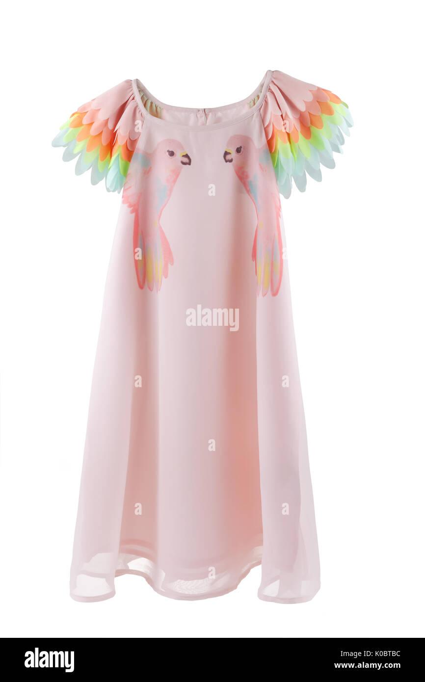 Chiffon vestido con impresiones de loros y coloridas alas para ...