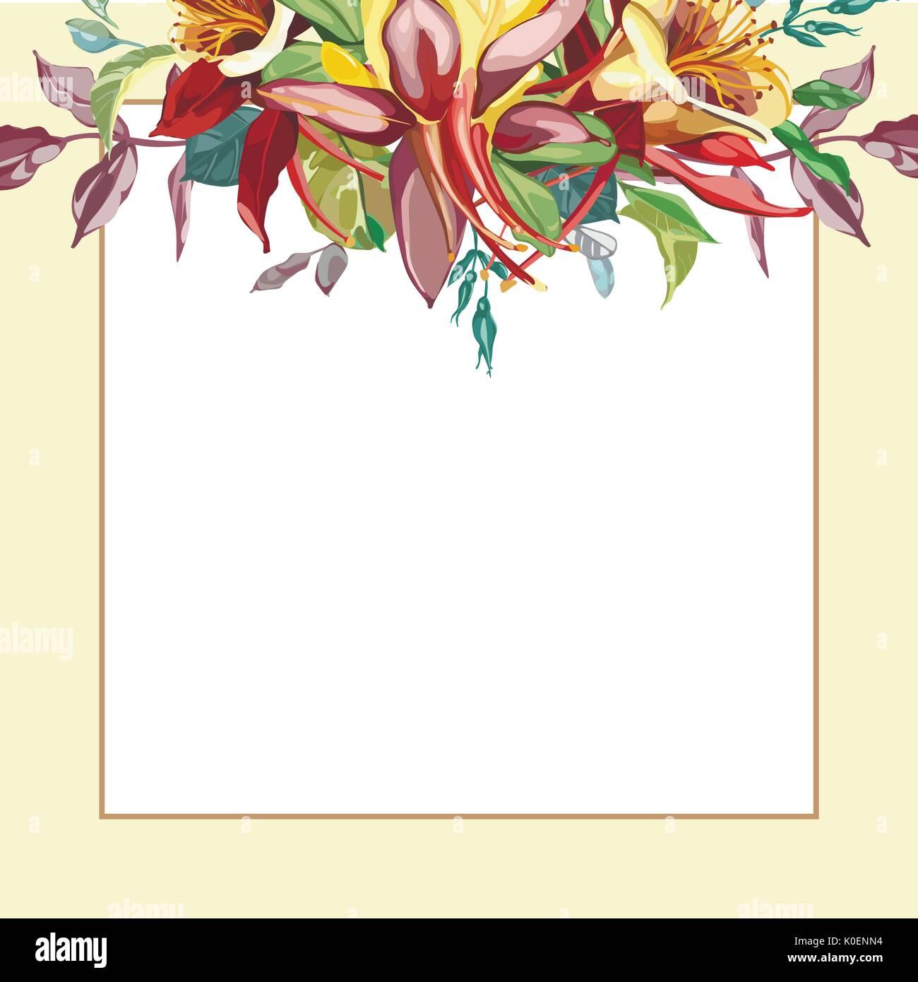 Marco floral con flores rojas sobre un fondo claro. Tarjeta de ...