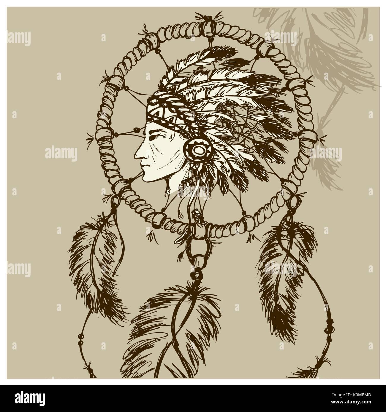 Los Indios De Norteamérica Con Atrapasueños Vector Dibujados A Mano