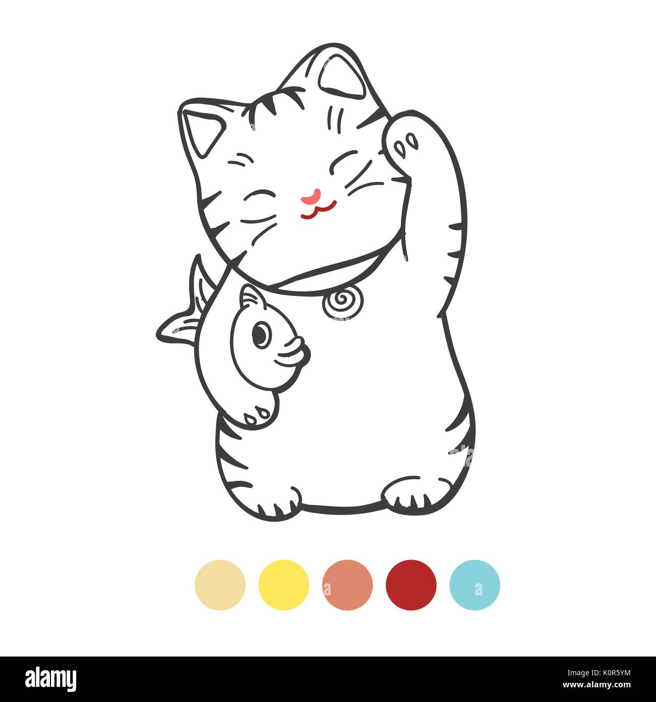 Página para colorear para los niños con colores muestra. Ilustración ...