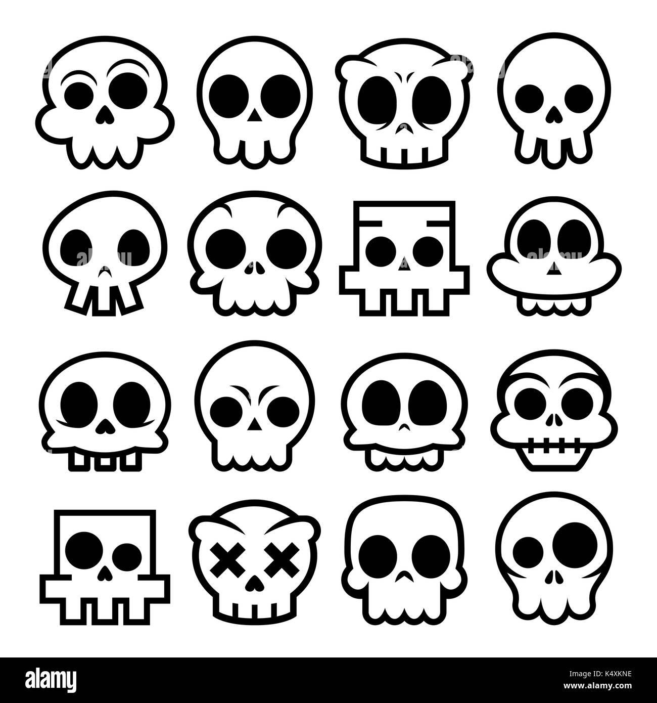 Cartoon Vectores De Halloween Cráneo Iconos Lindo Diseño Mexicano