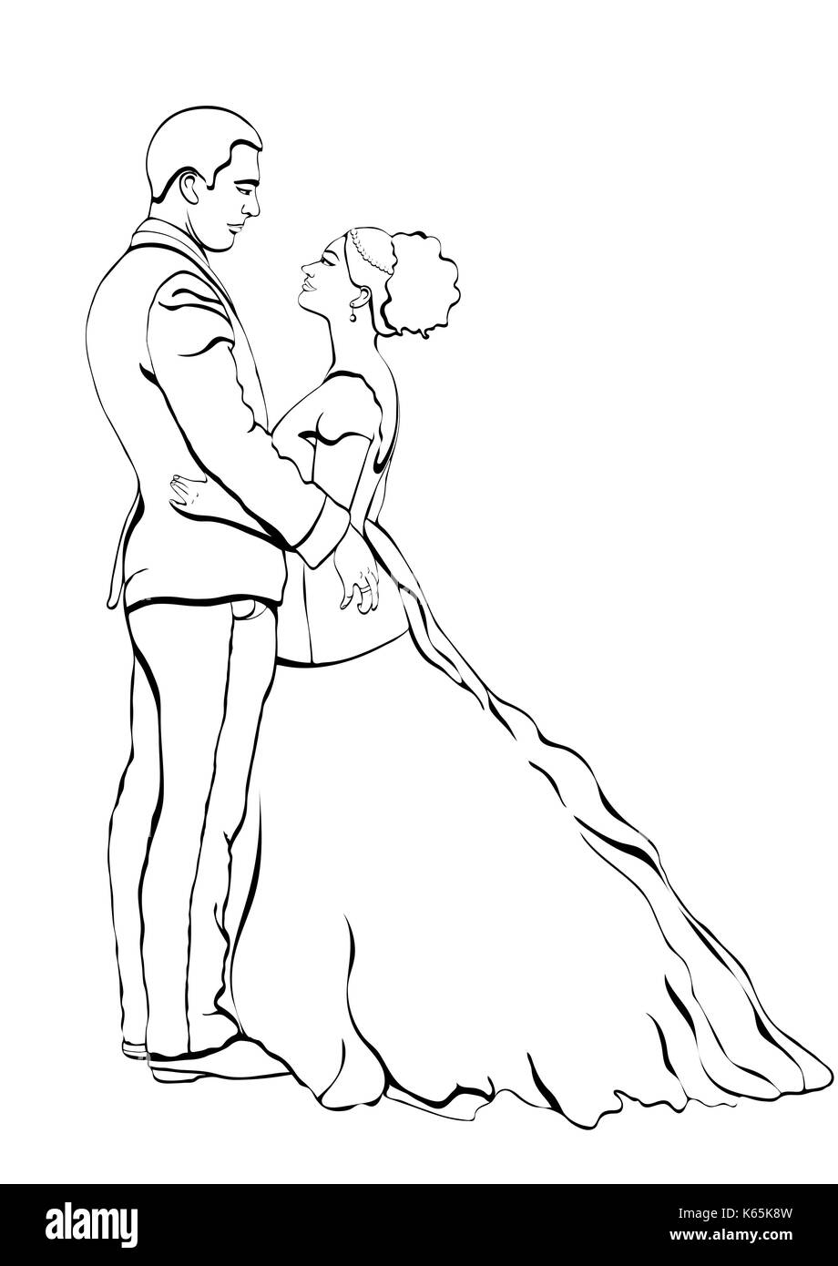 Esquema para el novio y la novia, vector de dibujos animados dibujo ...