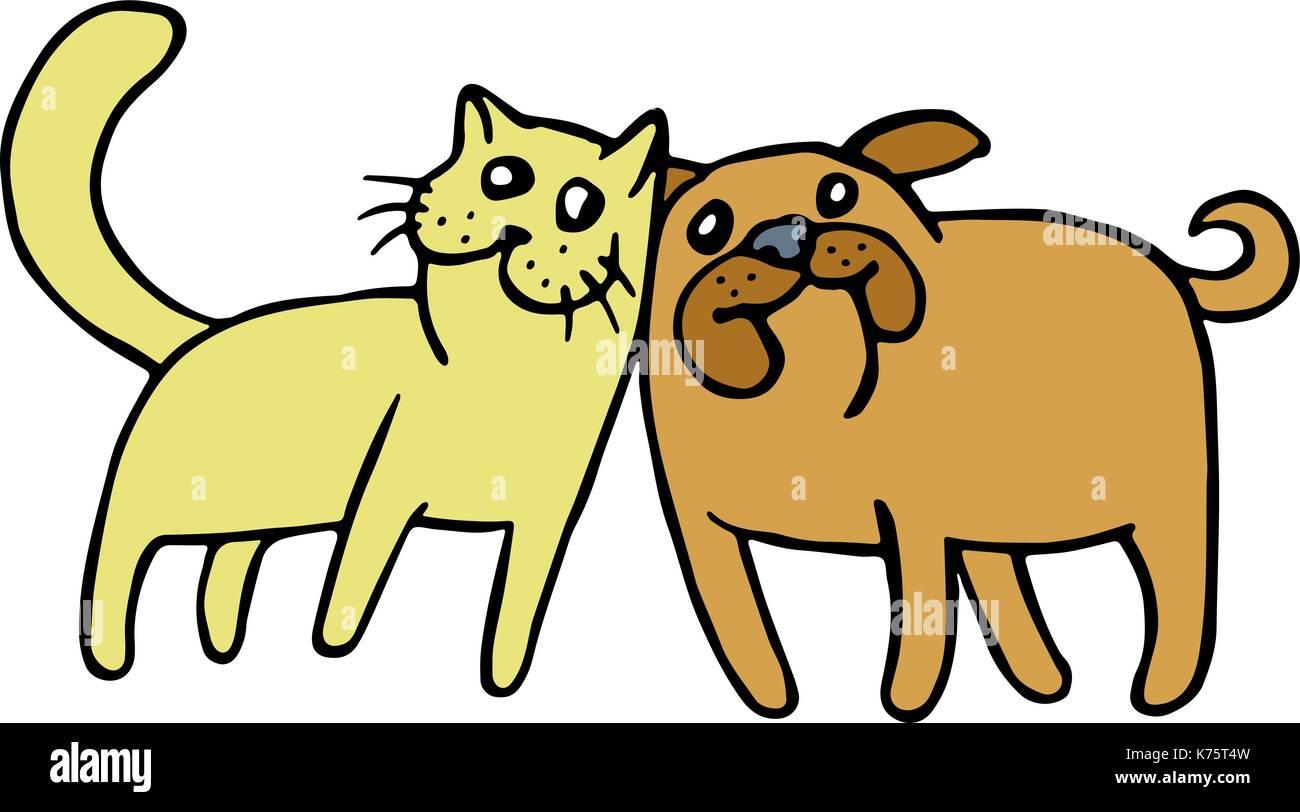 La Amistad De Un Gato Y Un Perro Caricatura Animales De Peletería