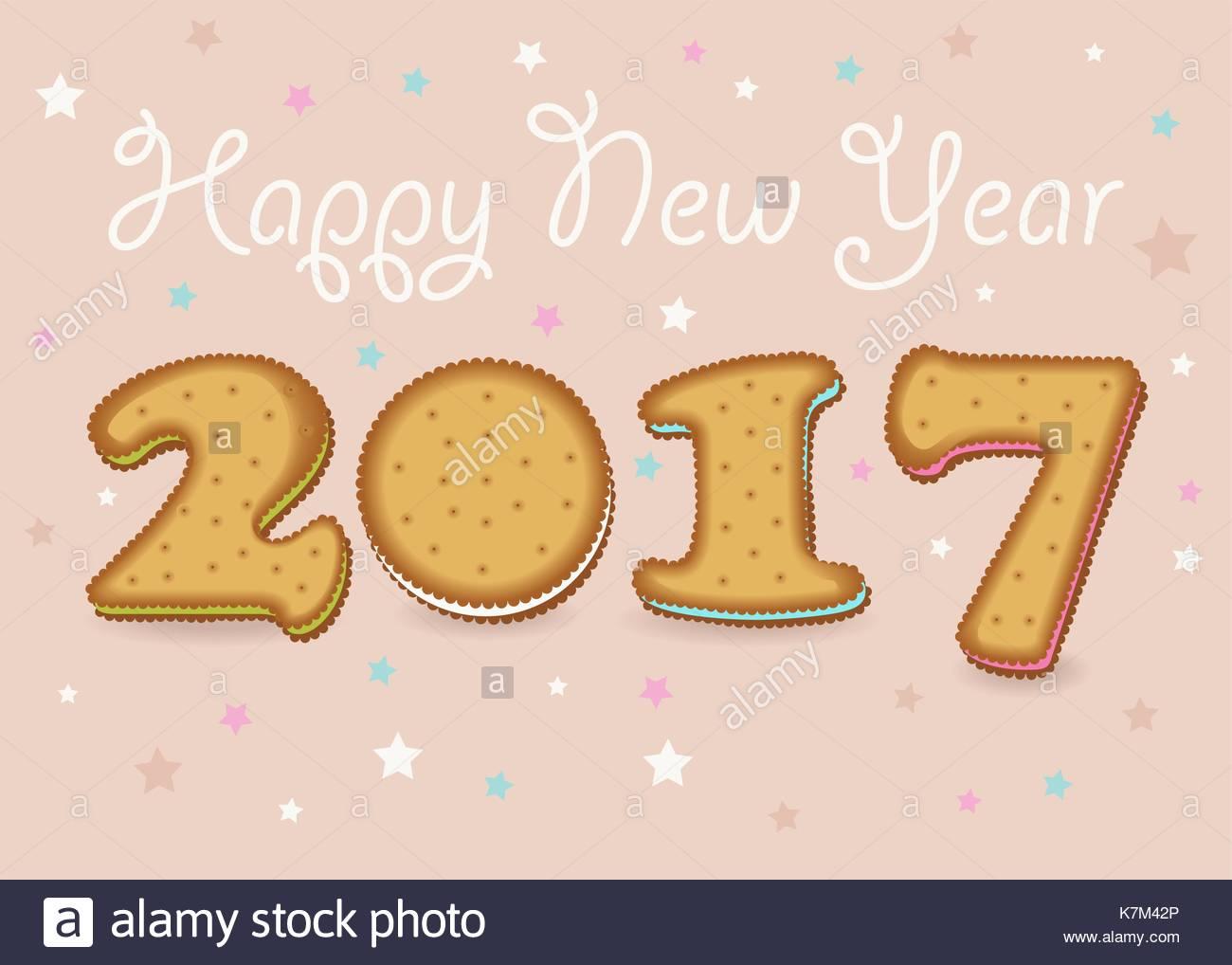 Feliz año nuevo 2017. calendario plantilla. símbolos dibujados a ...