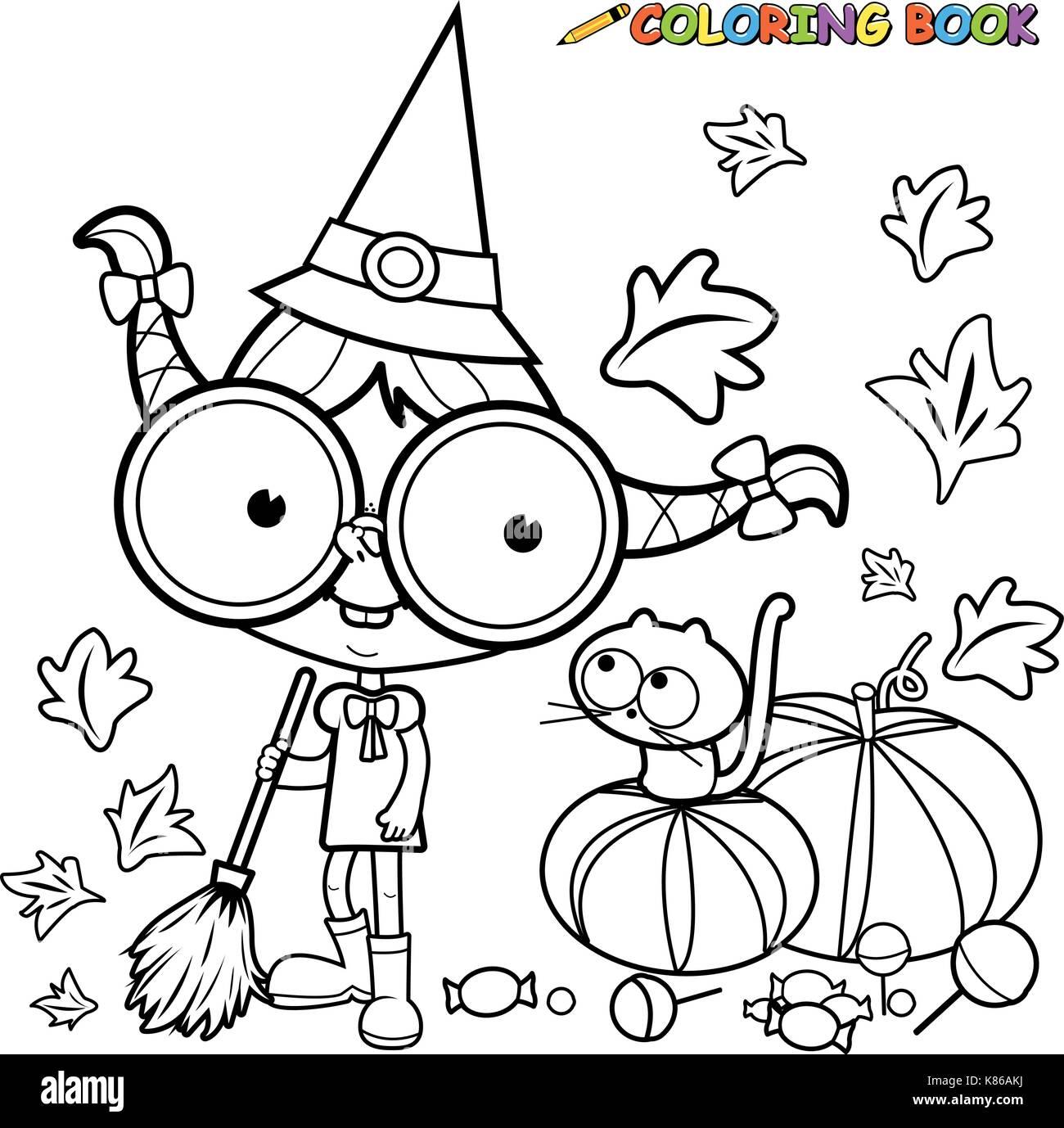 Bruja de Halloween barrer hojas de calabaza. blanco y negro página ...