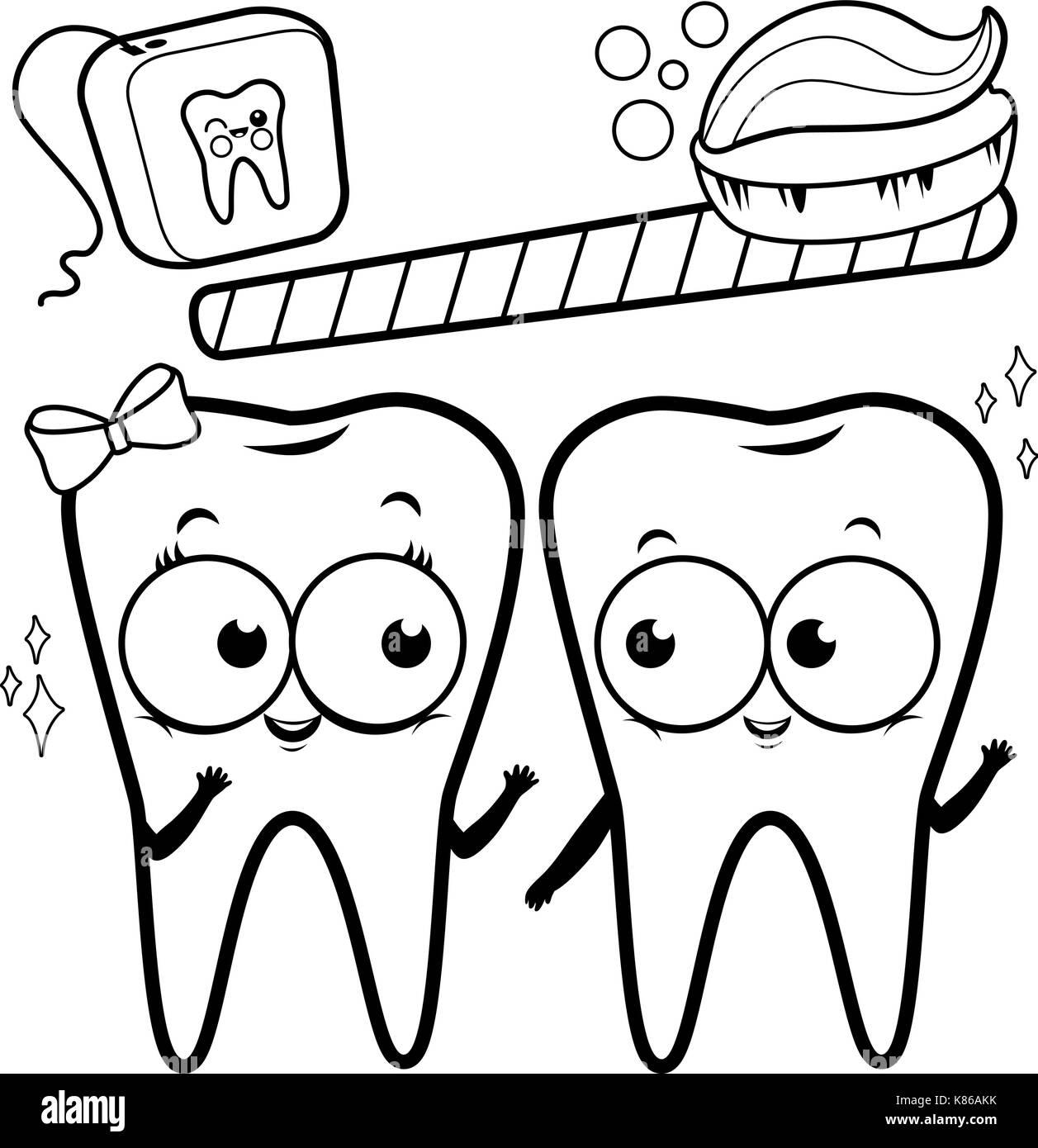 Cartoon los dientes con cepillo e hilo dental. blanco y negro página ...