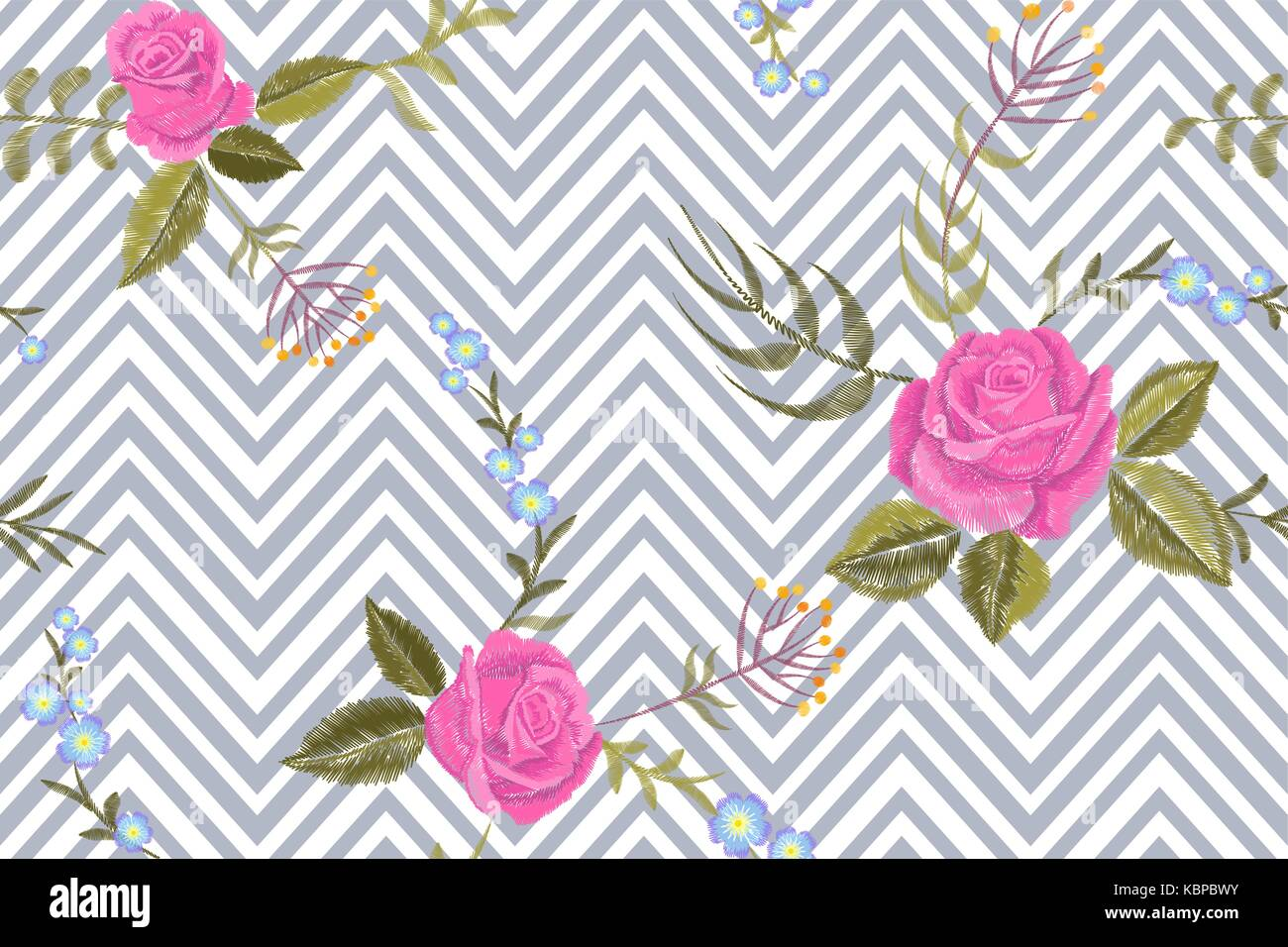 Rosa rosa floral bordado patrón sin fisuras. vintage flor victoriano ...