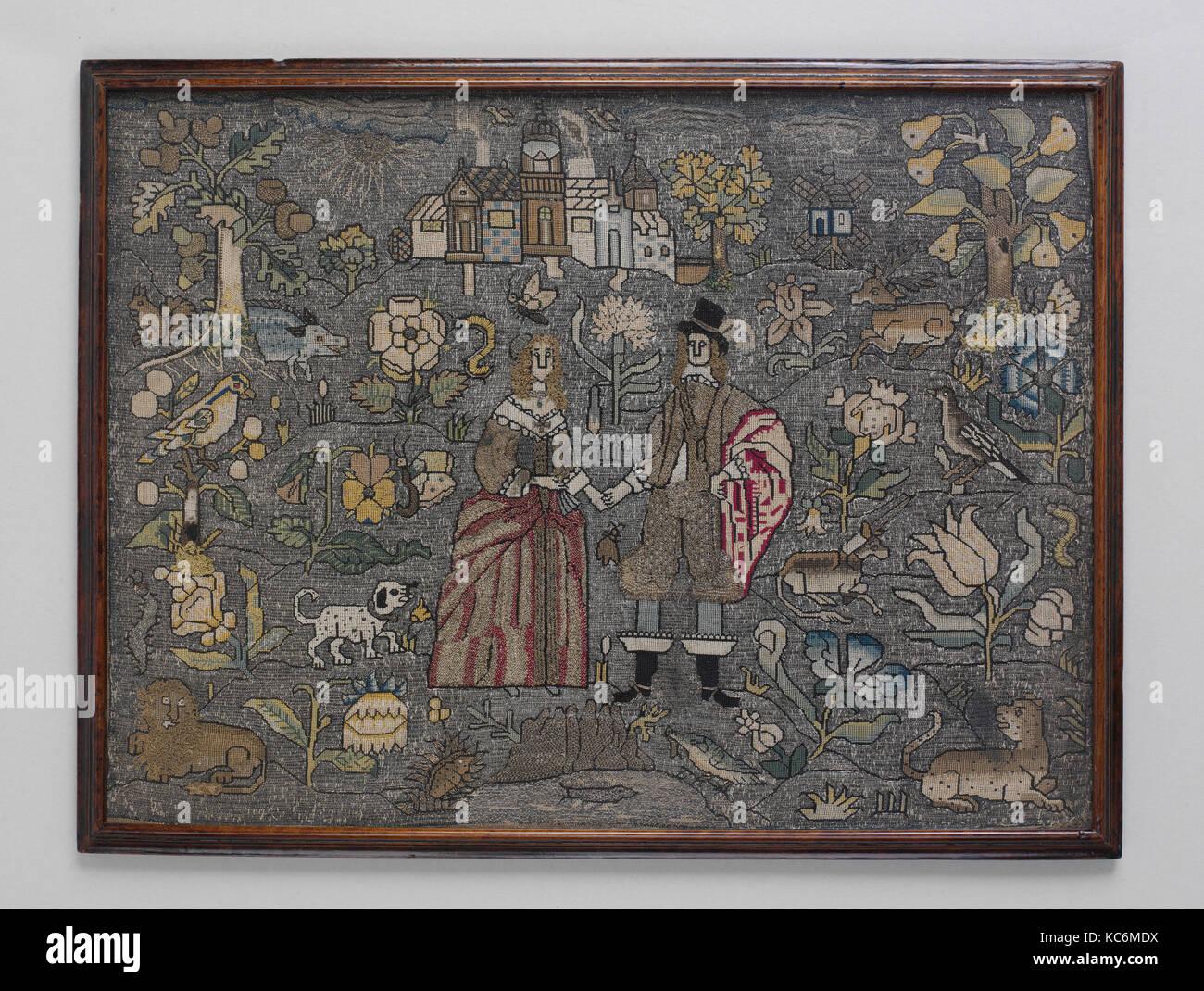 Imagen enmarcada, a mediados del siglo xvii, británicos, seda y hilo ...
