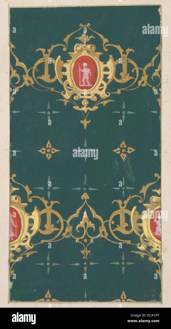 Diseño de papel tapiz con encuadre carouches rinceaux y figuras ...