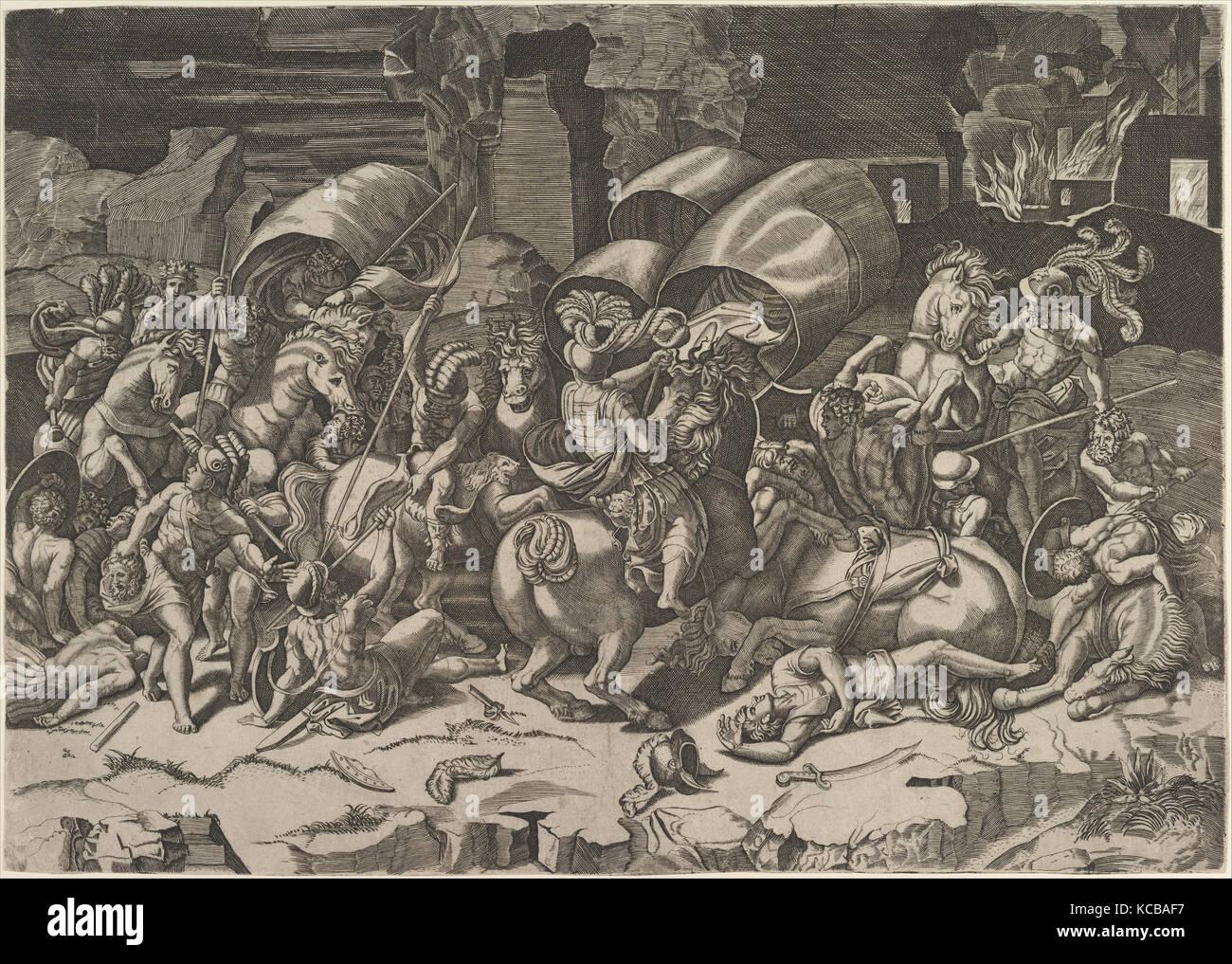 Batalla con un machete, ca. 1515-27, grabado, hoja: 12 11/16 x 18 1 ...