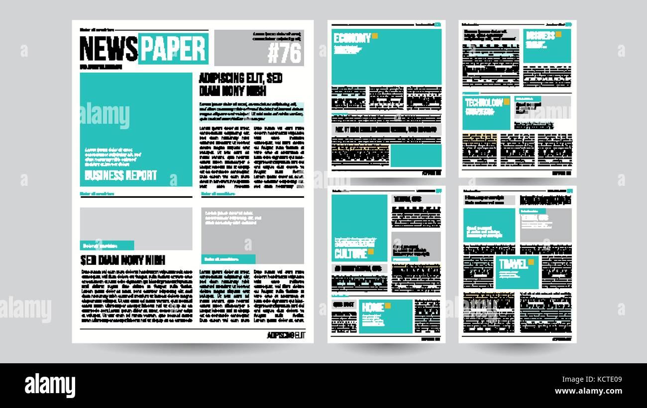 Plantilla del periódico financiero vector. artículos, información ...