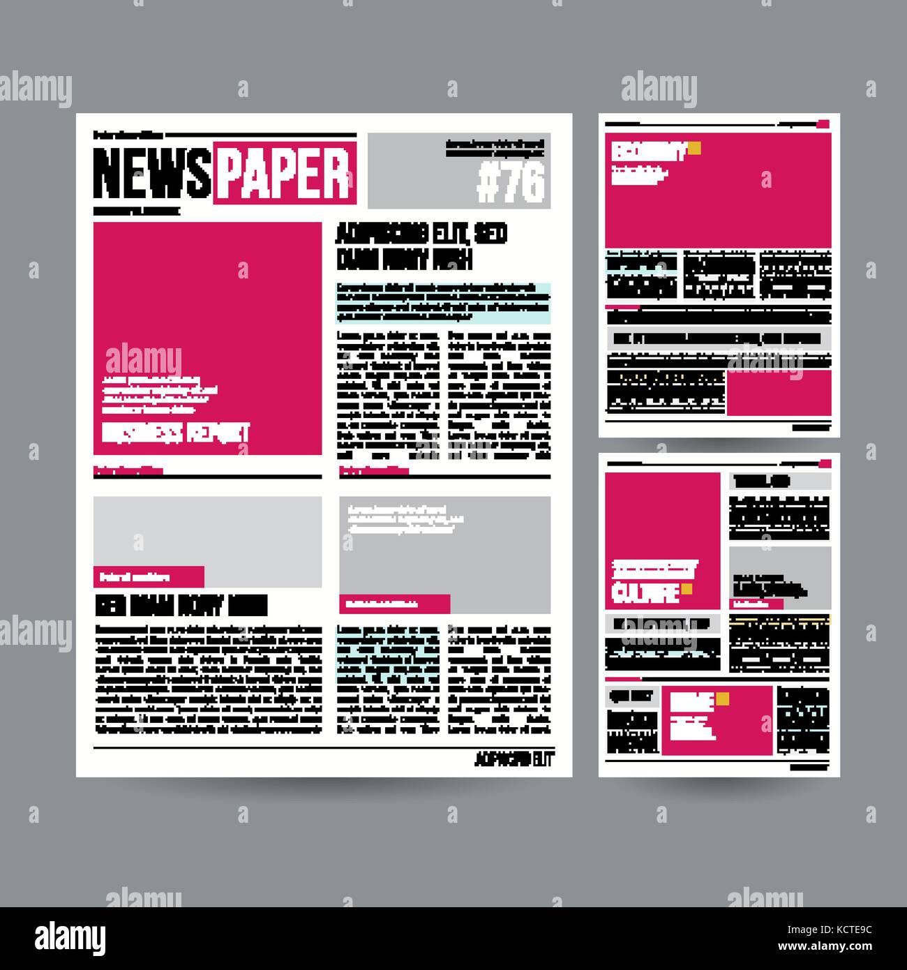 Plantilla de diseño periódico tabloide vector. imágenes, artículos ...