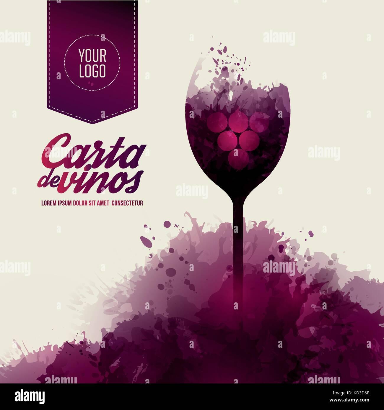 Lista de plantillas o cata de vinos. Ilustración de una copa de vino ...