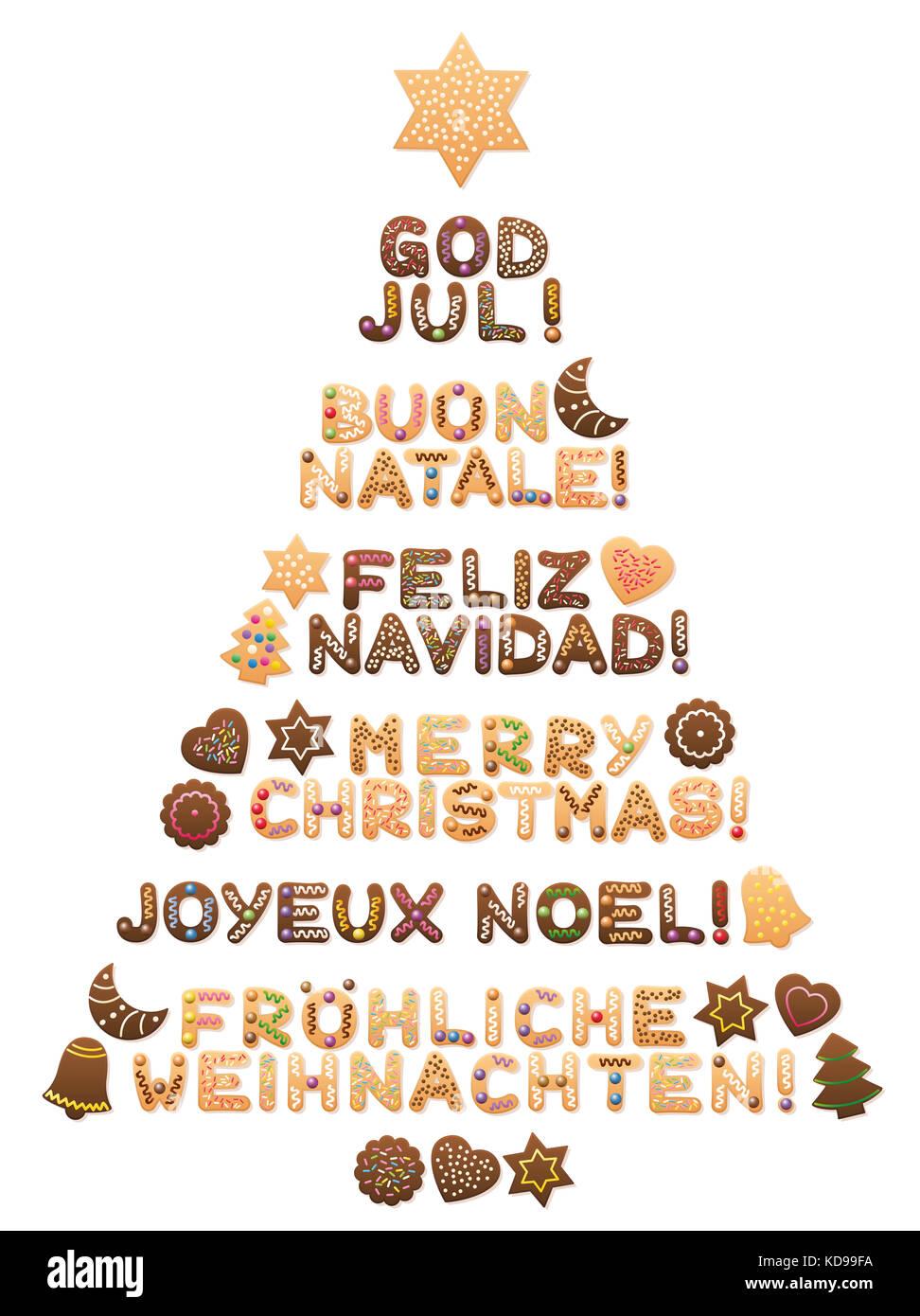 Feliz Navidad - escritos en sueco, inglés, italiano, español, inglés ...