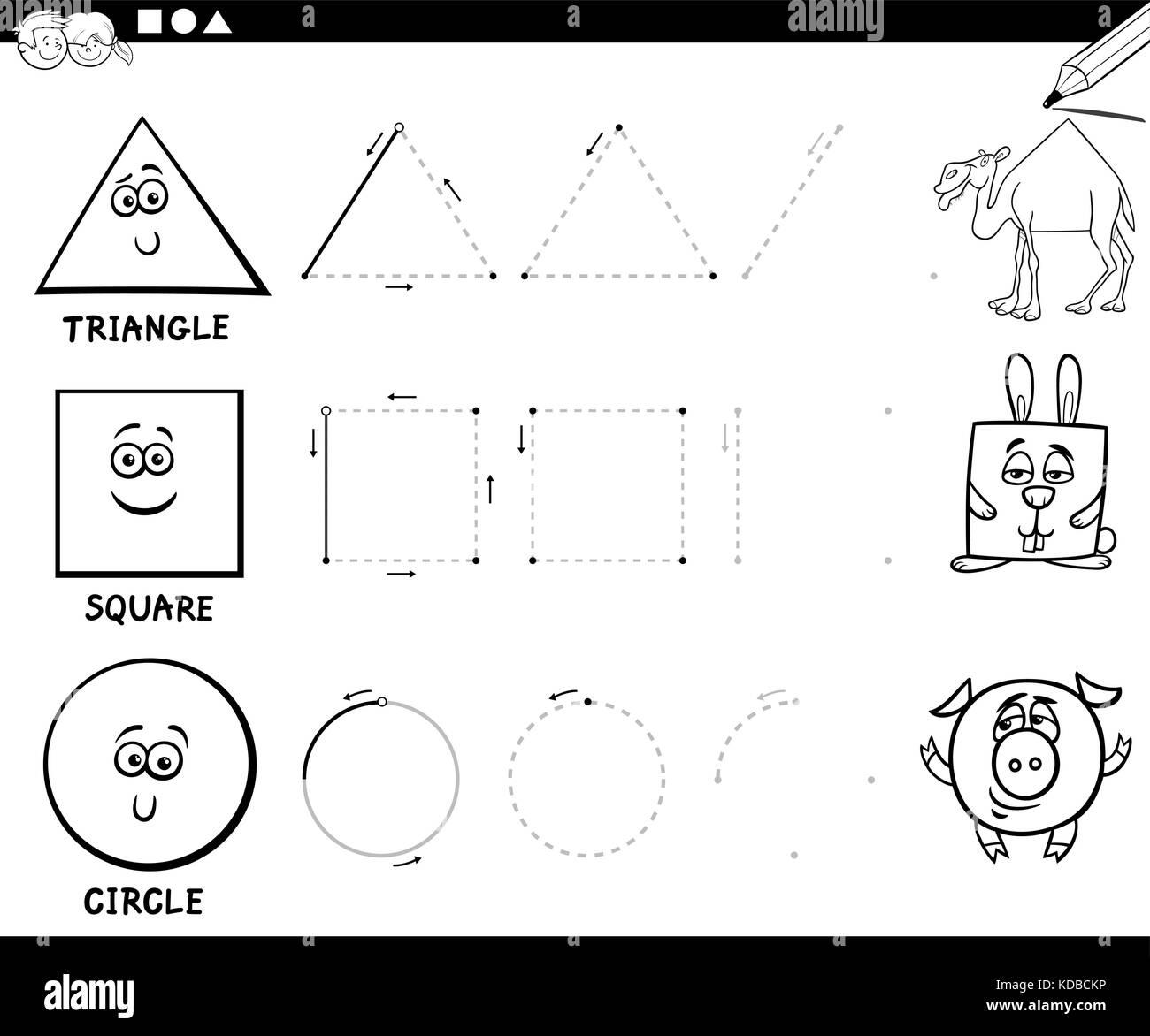 Blanco Y Negro Ilustración Dibujos Animados Educativos De Forma