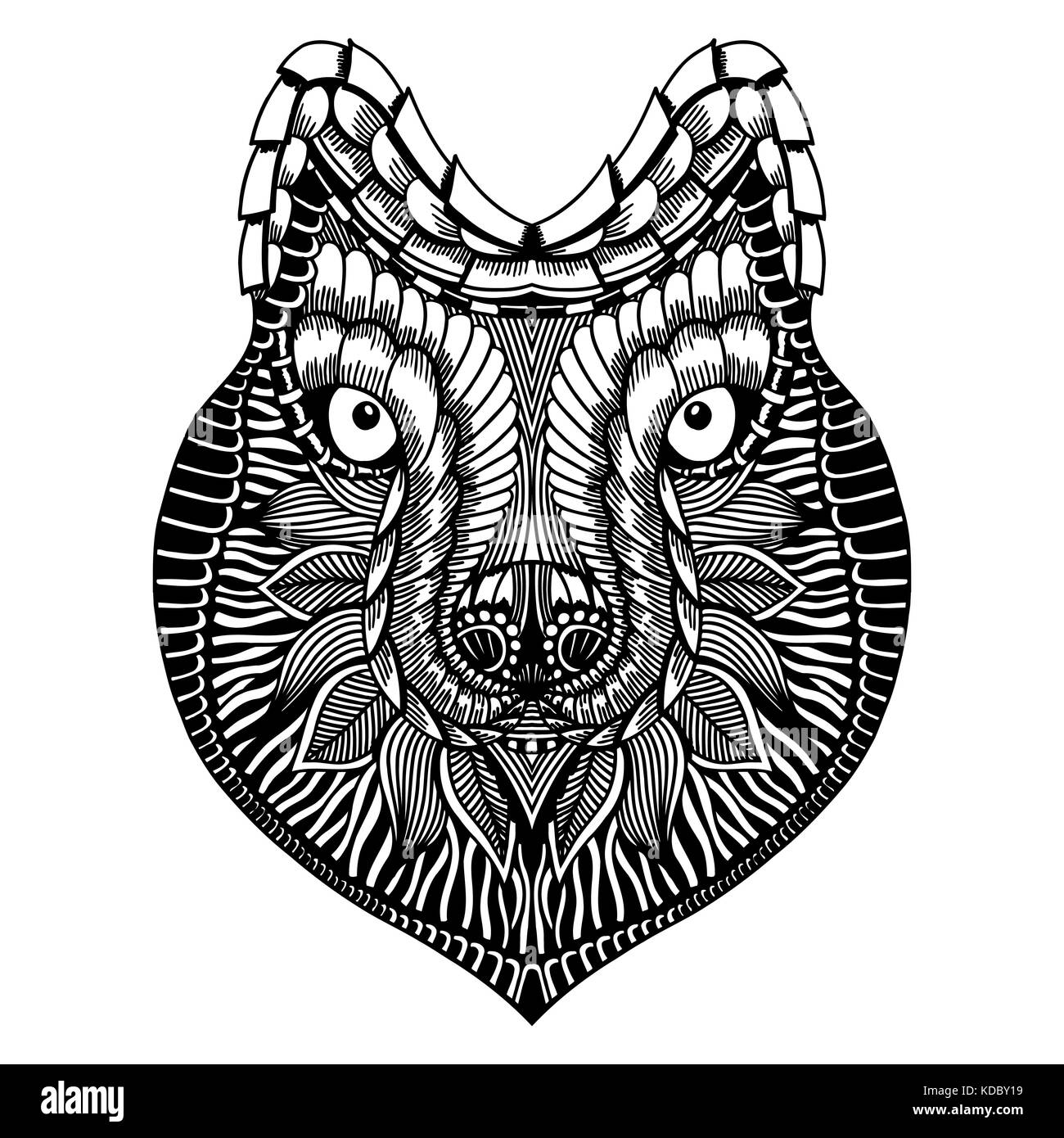 Zentangle Lobo Estilizada Cara Dibujadas A Mano Doodle Ilustración