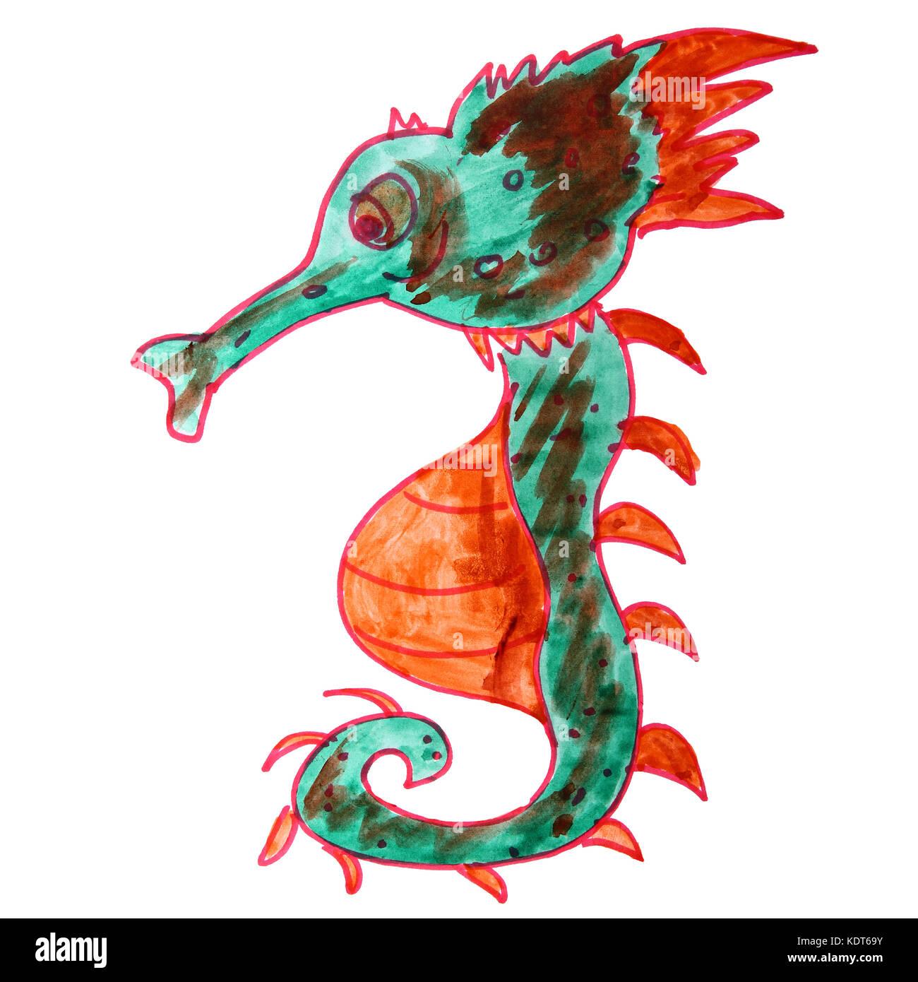 Dibujo de un caballo de mar acuarela niños, dibujos animados sobre ...