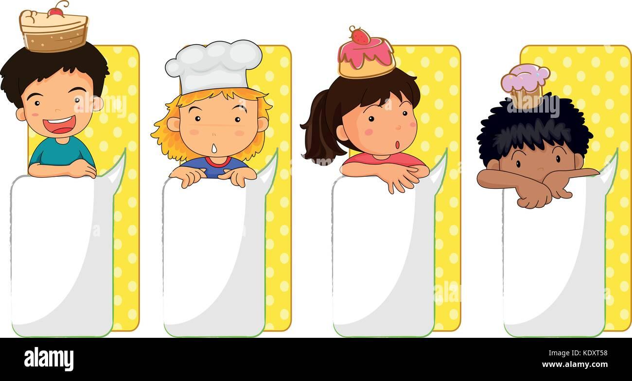 Niños y junta ilustración plantillas Ilustración del Vector, Imagen ...