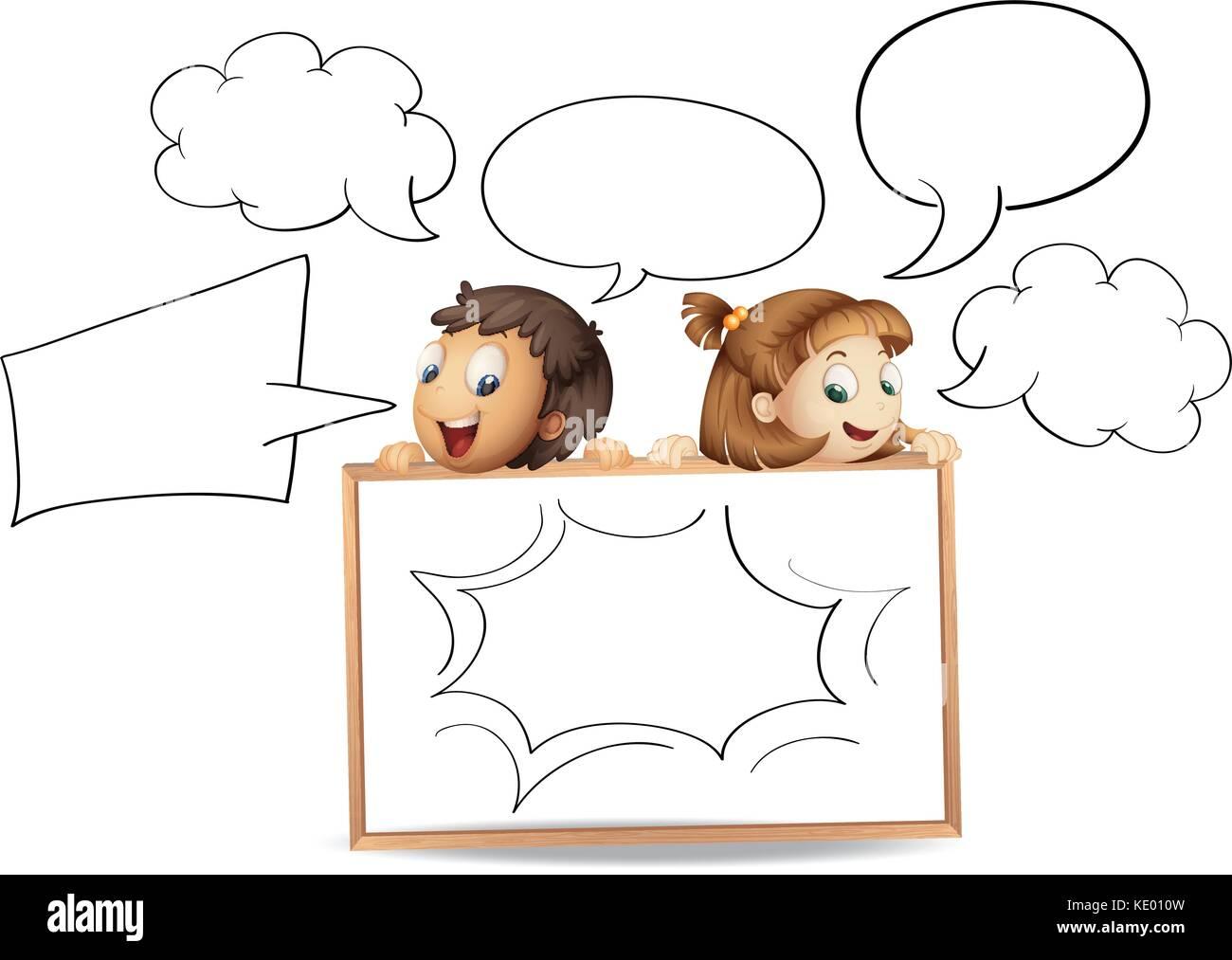 Chico y chica con el bocadillo de diálogo Plantillas ilustración ...