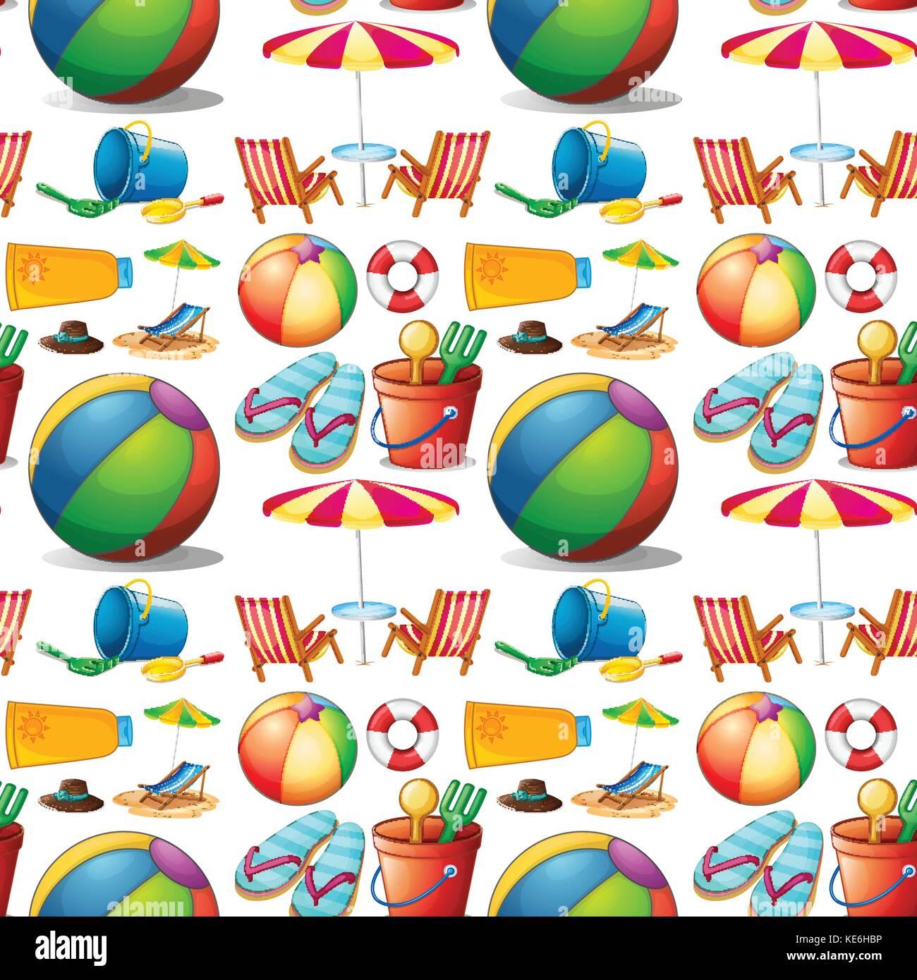 objetos y juguetes de playa perfecta ilustración ilustración del