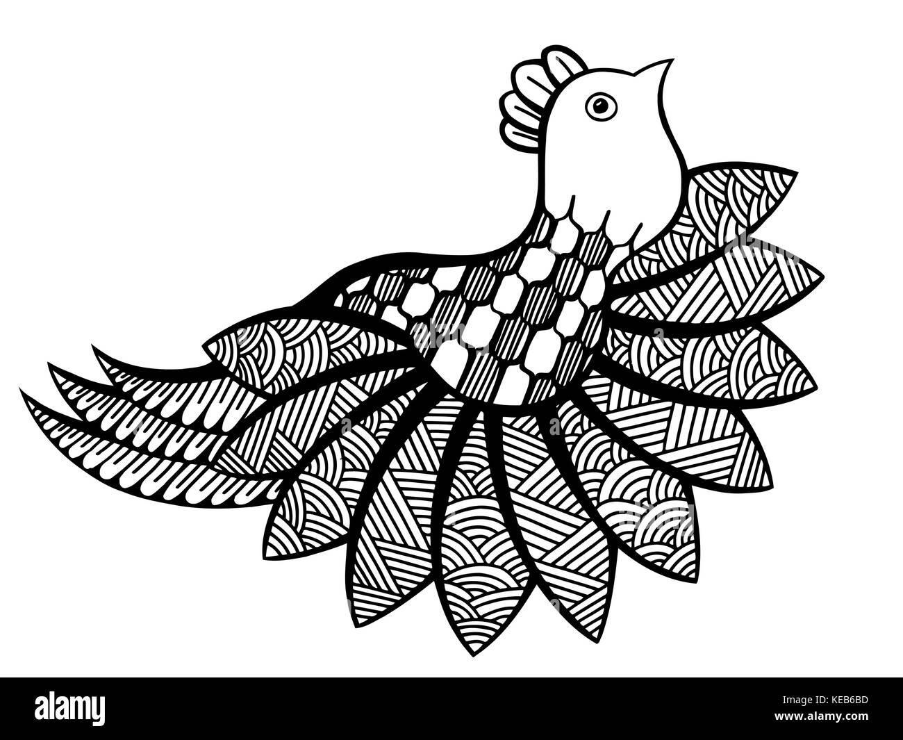 Vector de aves ornamentales, étnicas zentangled divertida mascota ...