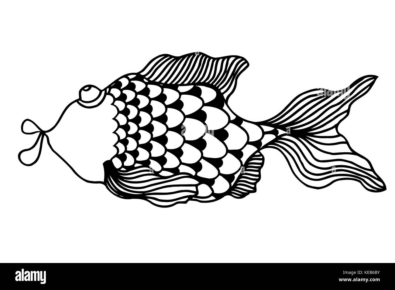 Peces cute cartoon, dibujos, colorear la ilustración vectorial ...