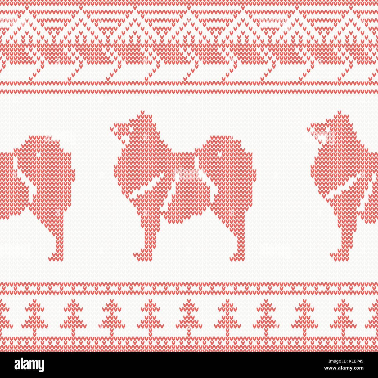 Perro tejidas patrón sin costuras en color rojo. ilustración ...