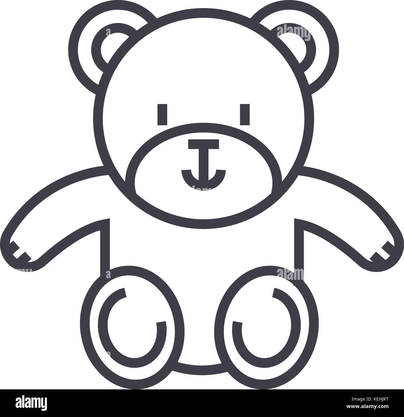 Lindo oso de peluche línea vector icono, signo, la ilustración de ...